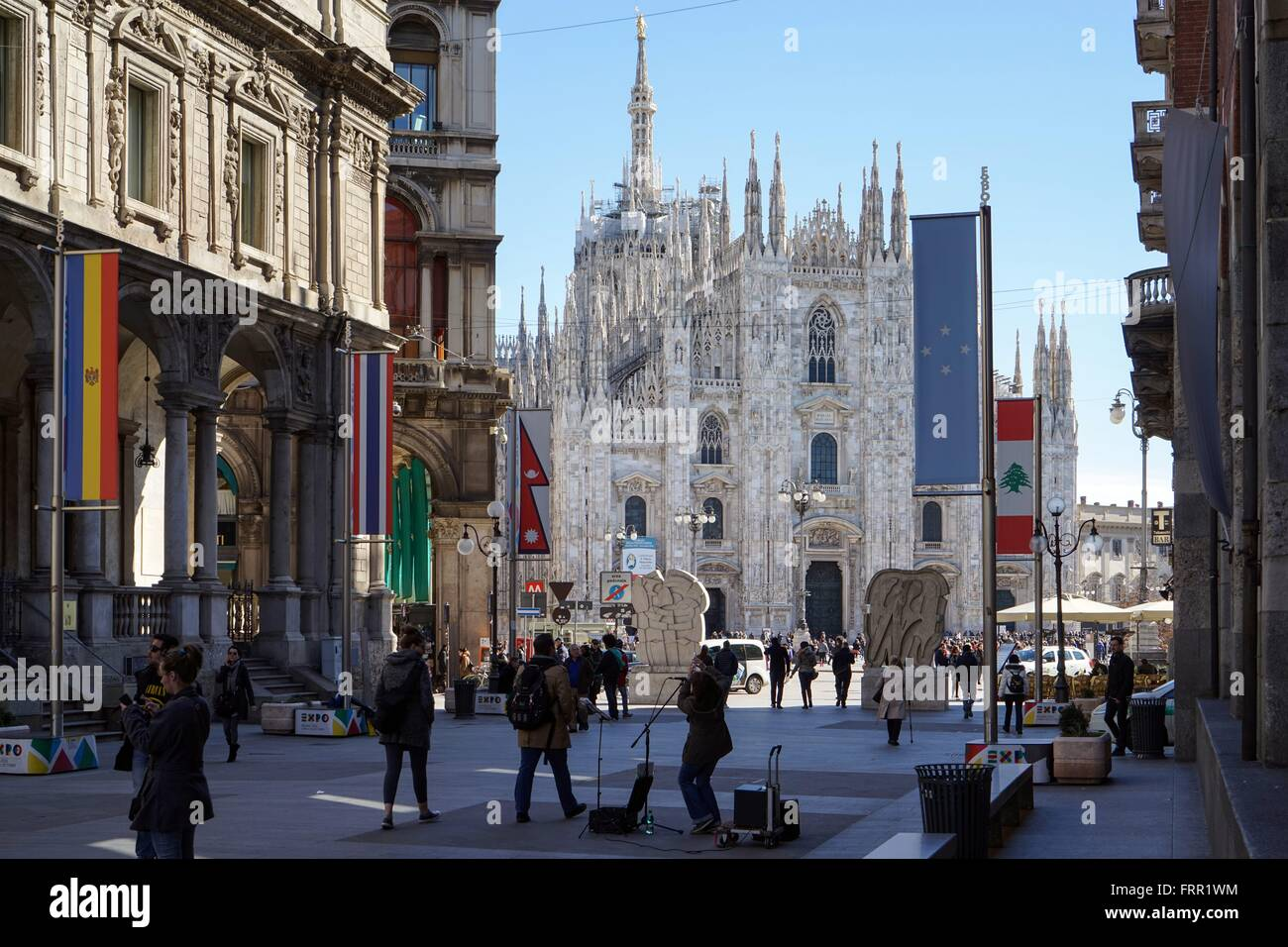 Italy: Milan Cathedral, seen from Piazza dei Mercanti. Photo from 03. March 2016. Stock Photo
