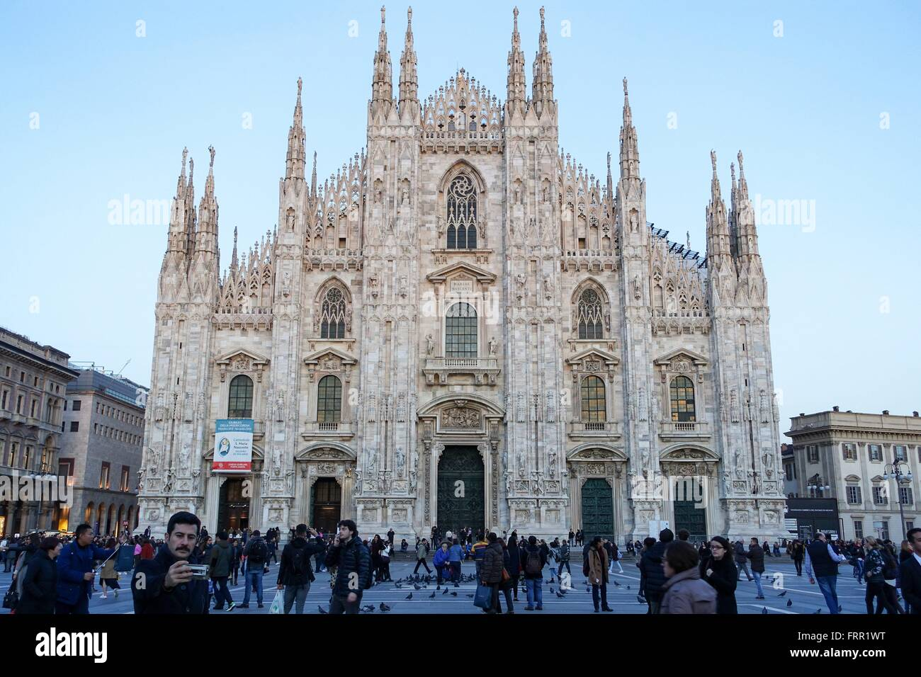 Italy: Milan Cathedral, seen from Piazza del Duomo. Photo from 02. March 2016. Stock Photo