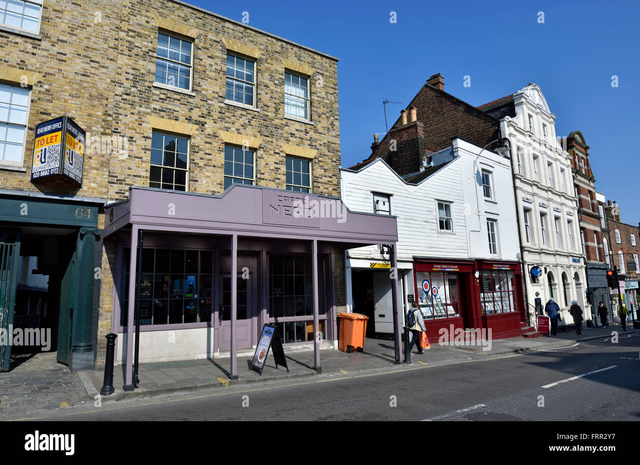 Highgate Village with Caffe Nero in foreground London England Britain UK Stock Photo