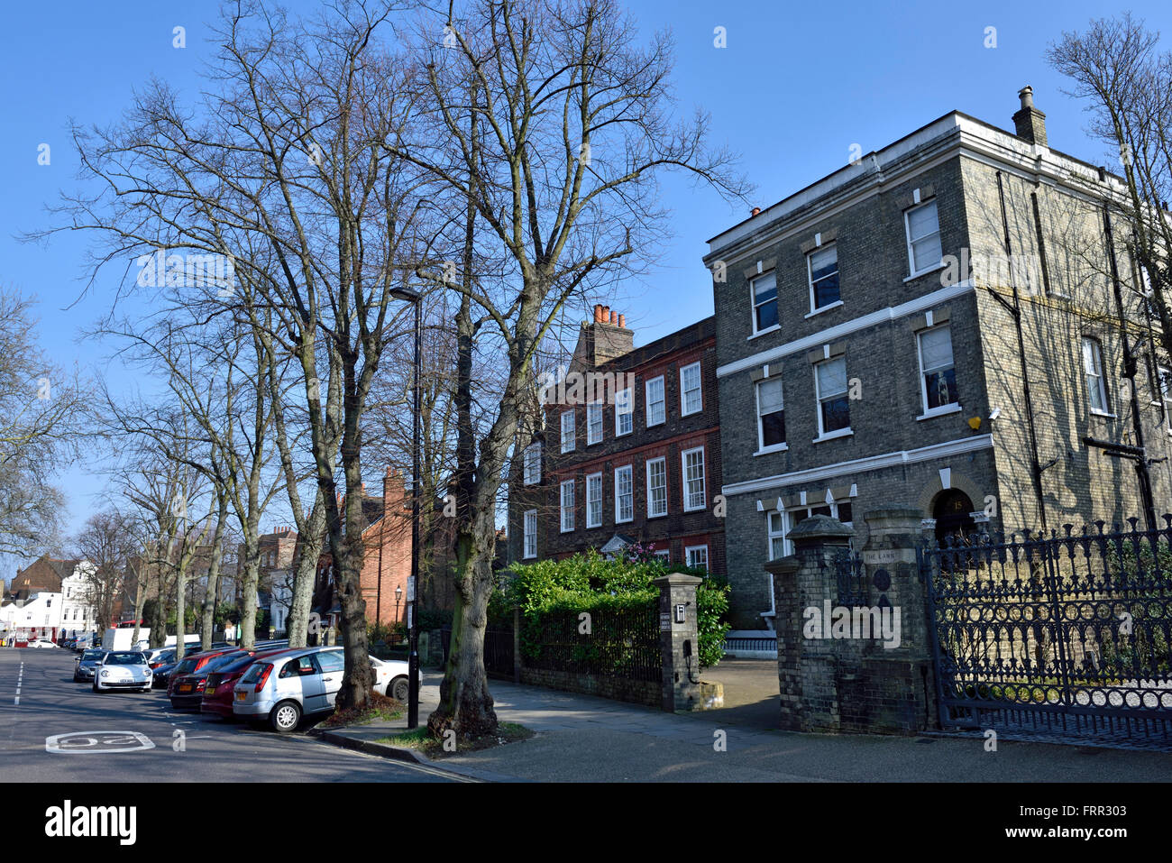 Residential street Highgate Village with houses London England Britain UK Stock Photo
