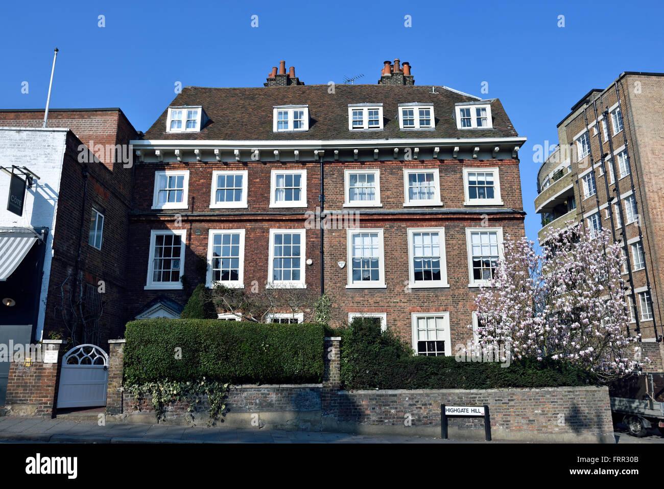 Two Georgian houses on Highgate Hill London England Britain UK - Stock Image