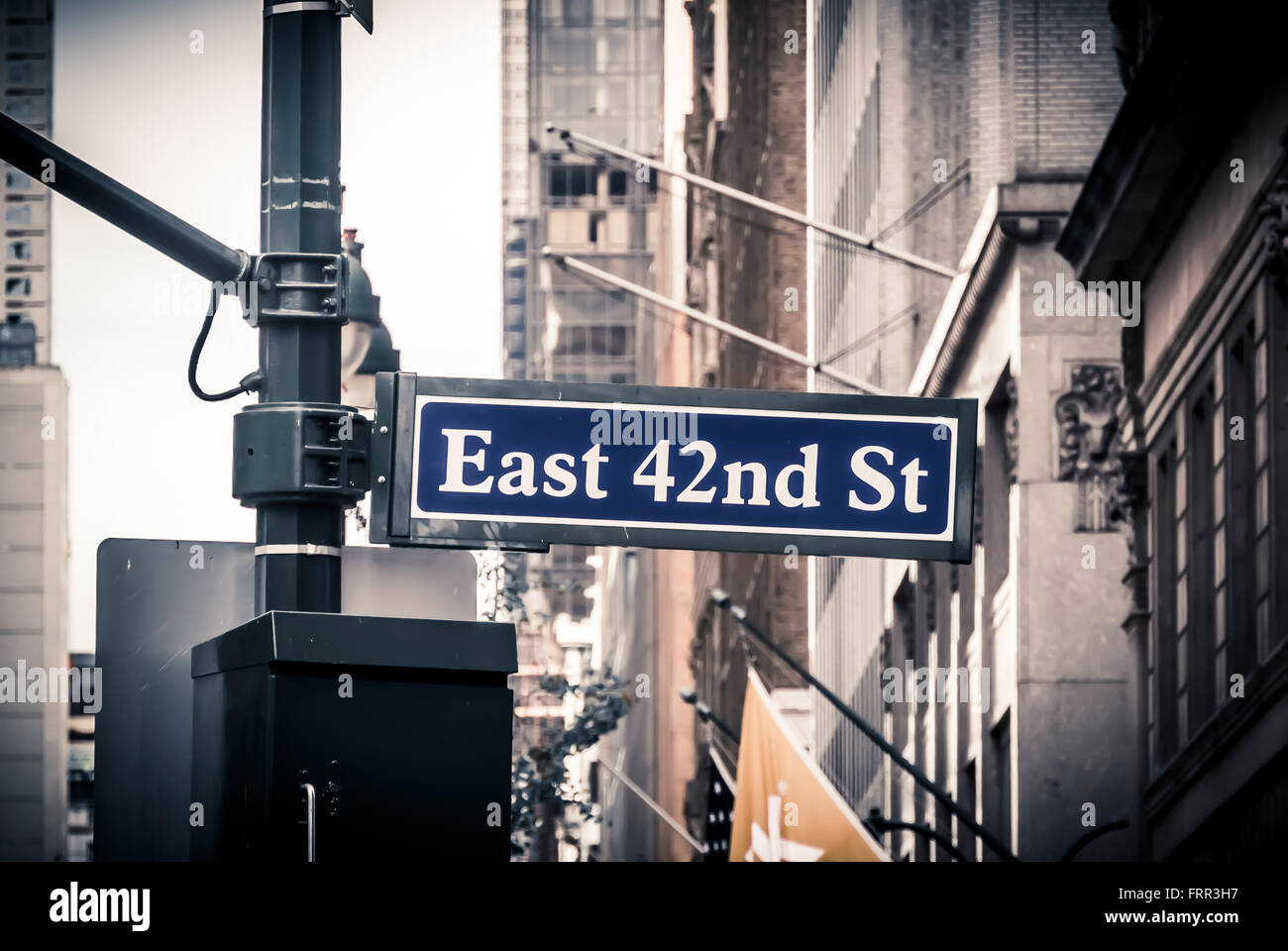 East 42nd St sign, New York City, USA. - Stock Image