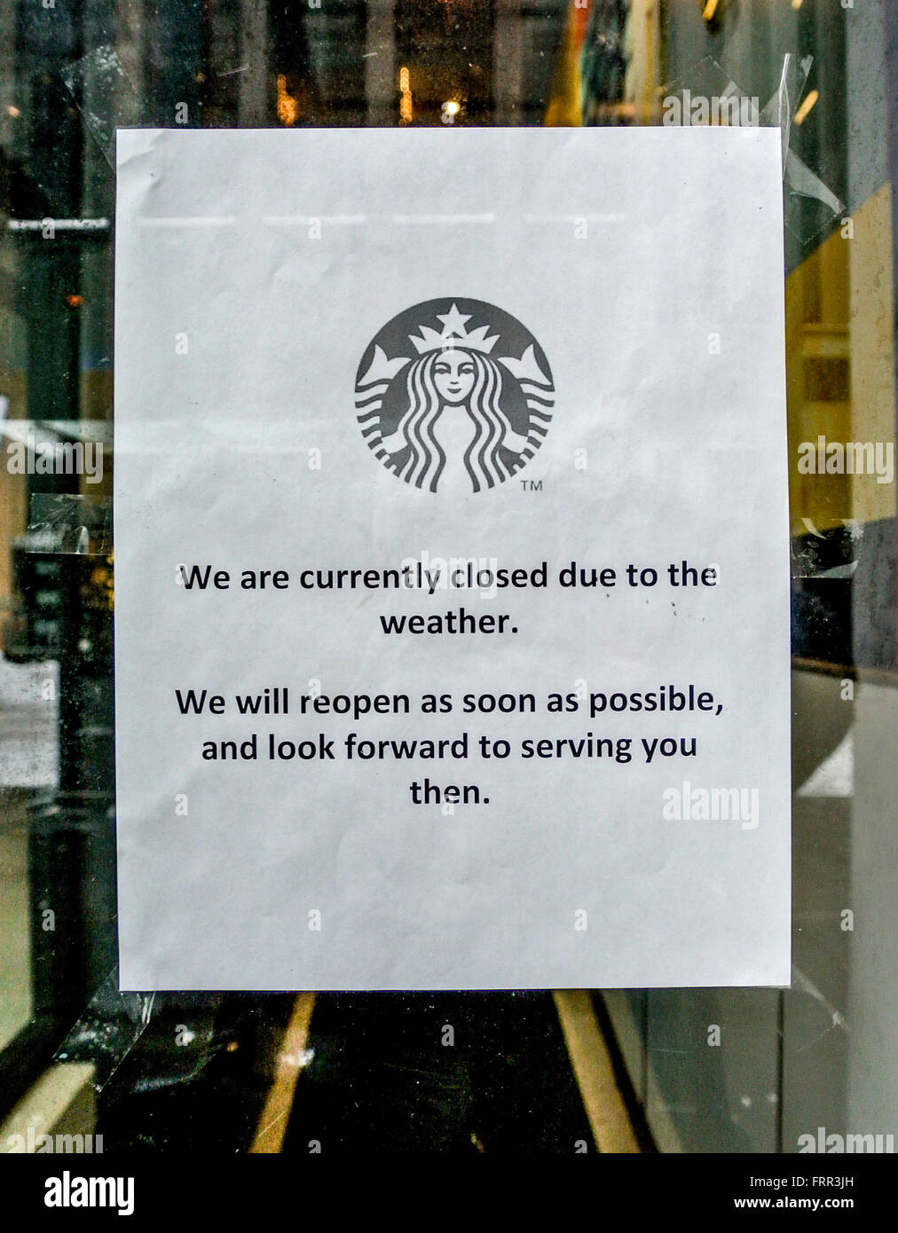 Sign on Starbucks door, New York City, USA. Closed due to ...