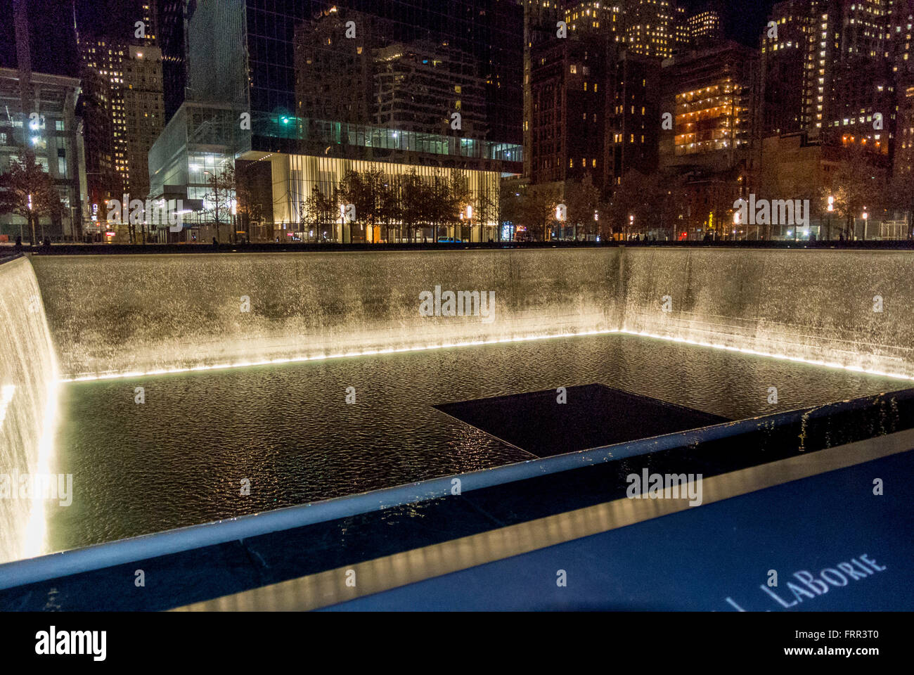 9/11 memorial, New York, USA at night - Stock Image