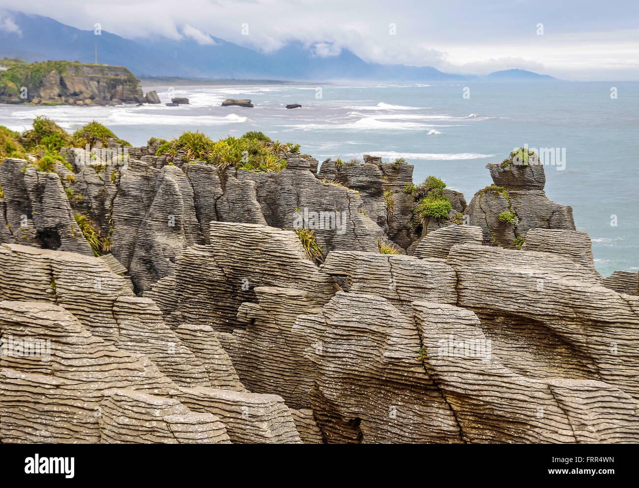 Pancake Rocks near Punakaiki,  South island,  New Zealand - Stock Image