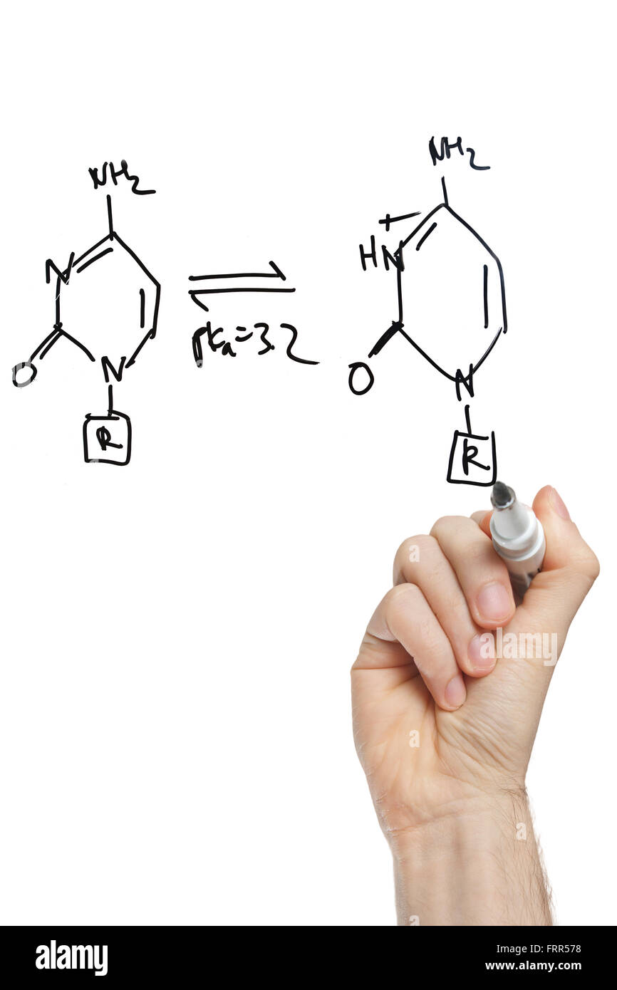 hand drawing molecule structure of nucleic acid bases on a virtual whiteboard - Stock Image