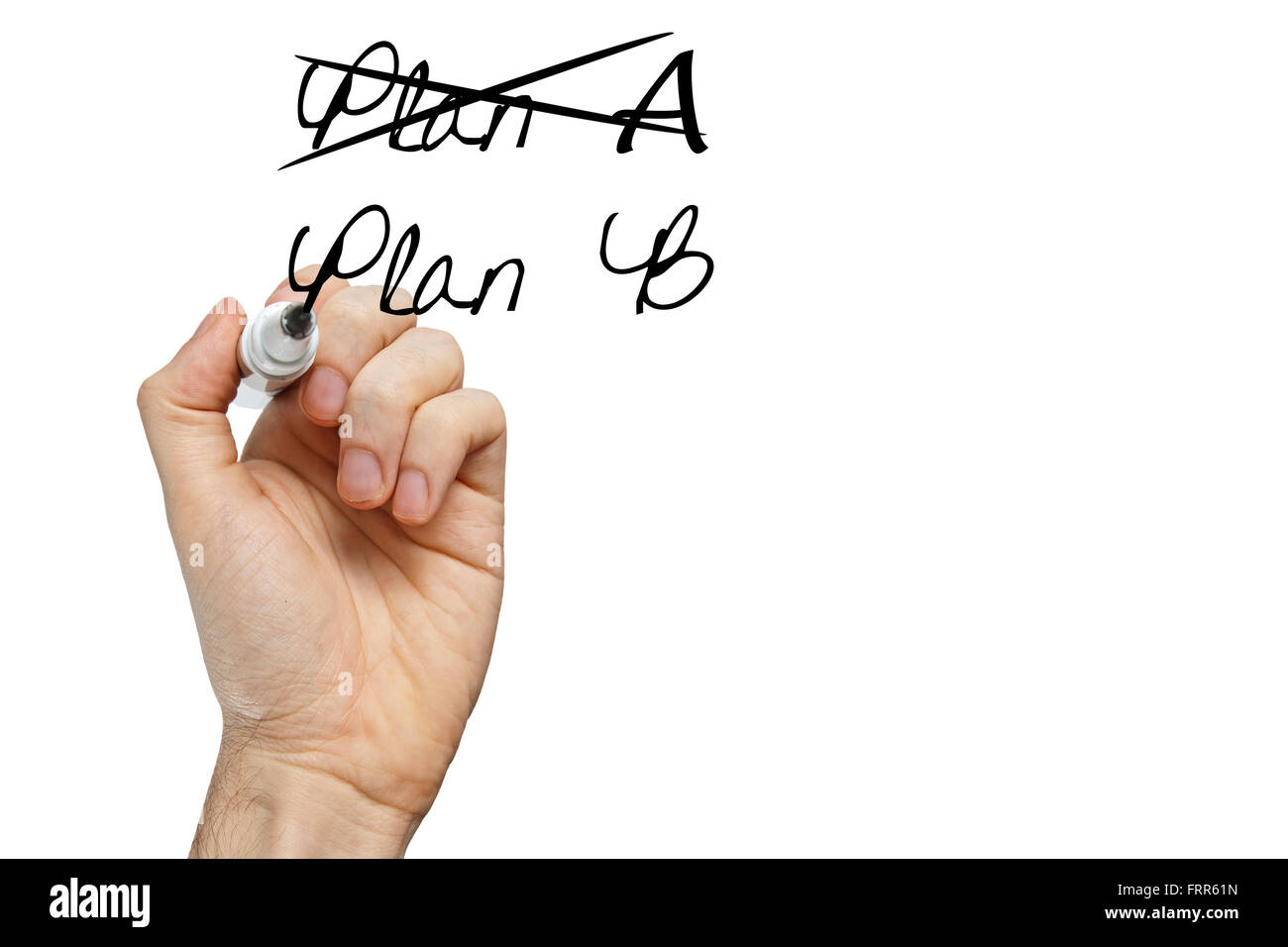 Business plan strategy changing. Hand crossing over Plan A, writing Plan B. Isolated on white. - Stock Image