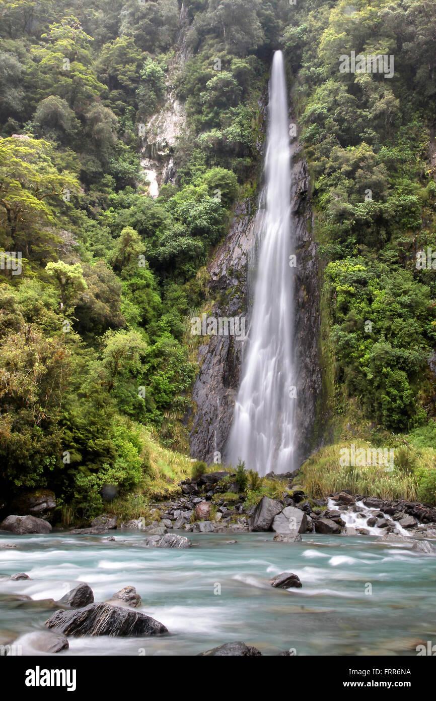 Thunder Creek Falls, Westland-Nationalpark, South island,  New Zealand - Stock Image