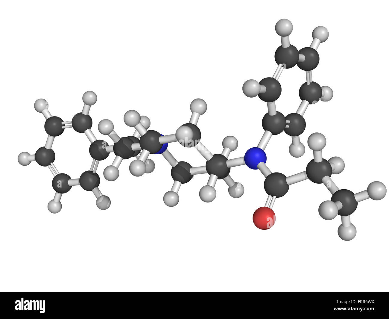 Chemical structure of fentanyl,  a potent and synthetic opioid analgesic with a rapid onset and short duration of - Stock Image
