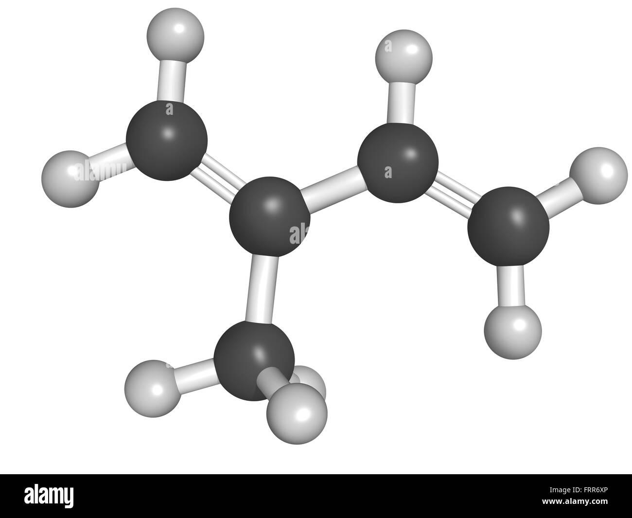 Chemical structure of isoprene, rubber (polyisoprene) building block