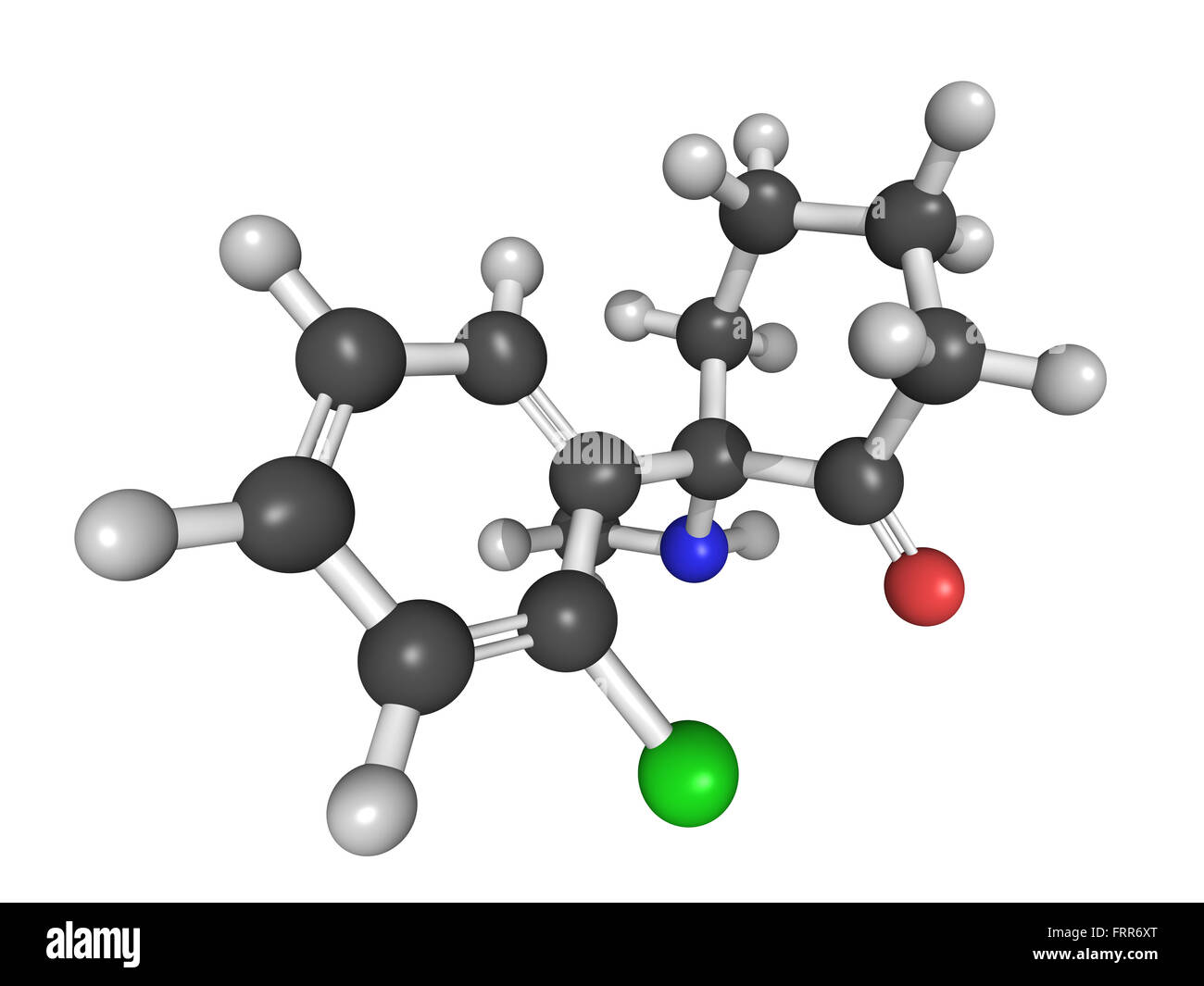 Chemical structure of ketamine, an anaesthetic drug with rapid antidepressant properties - Stock Image