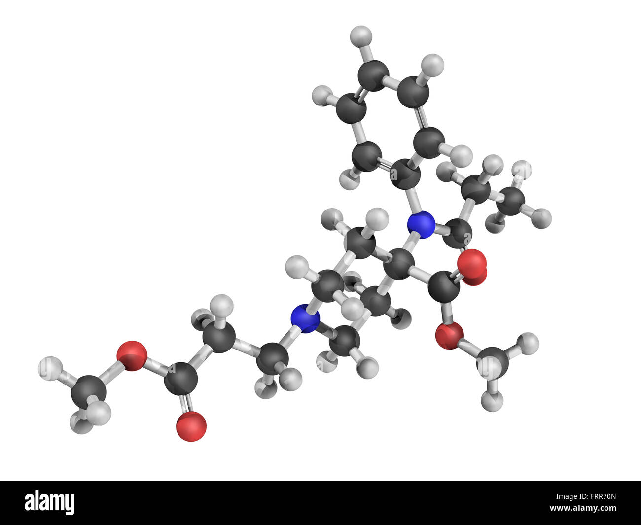 Chemical structure of remifentanil, a potent ultra short-acting synthetic opioid analgesic drug.  It is given to - Stock Image