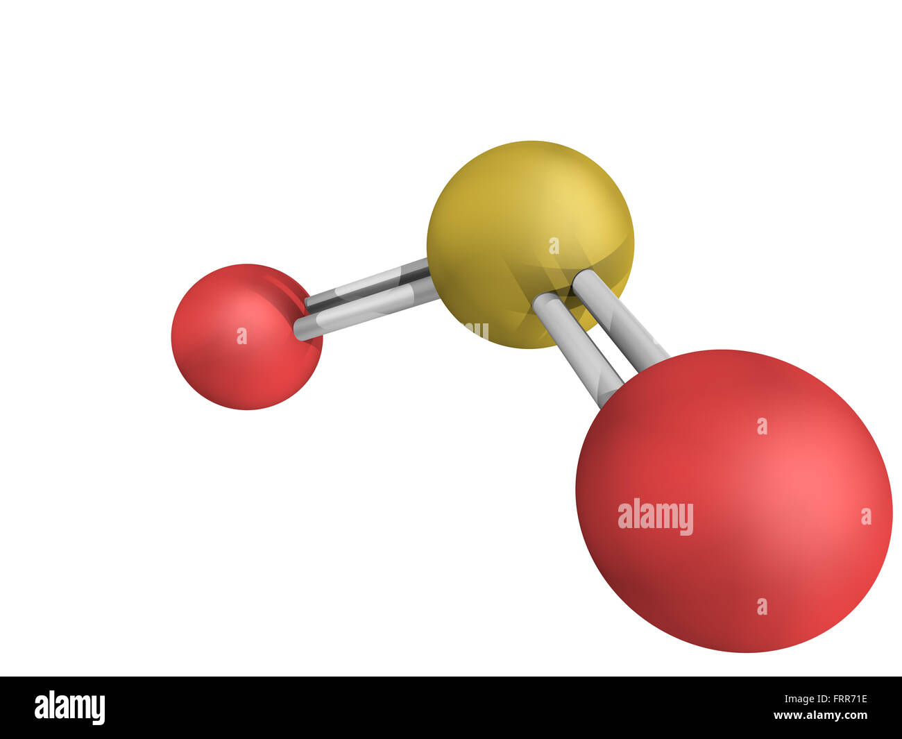 Chemical structure of sulfur dioxide (sulphur dioxide, SO2) gas, molecular model. SO2 (E220) is also used in winemaking - Stock Image