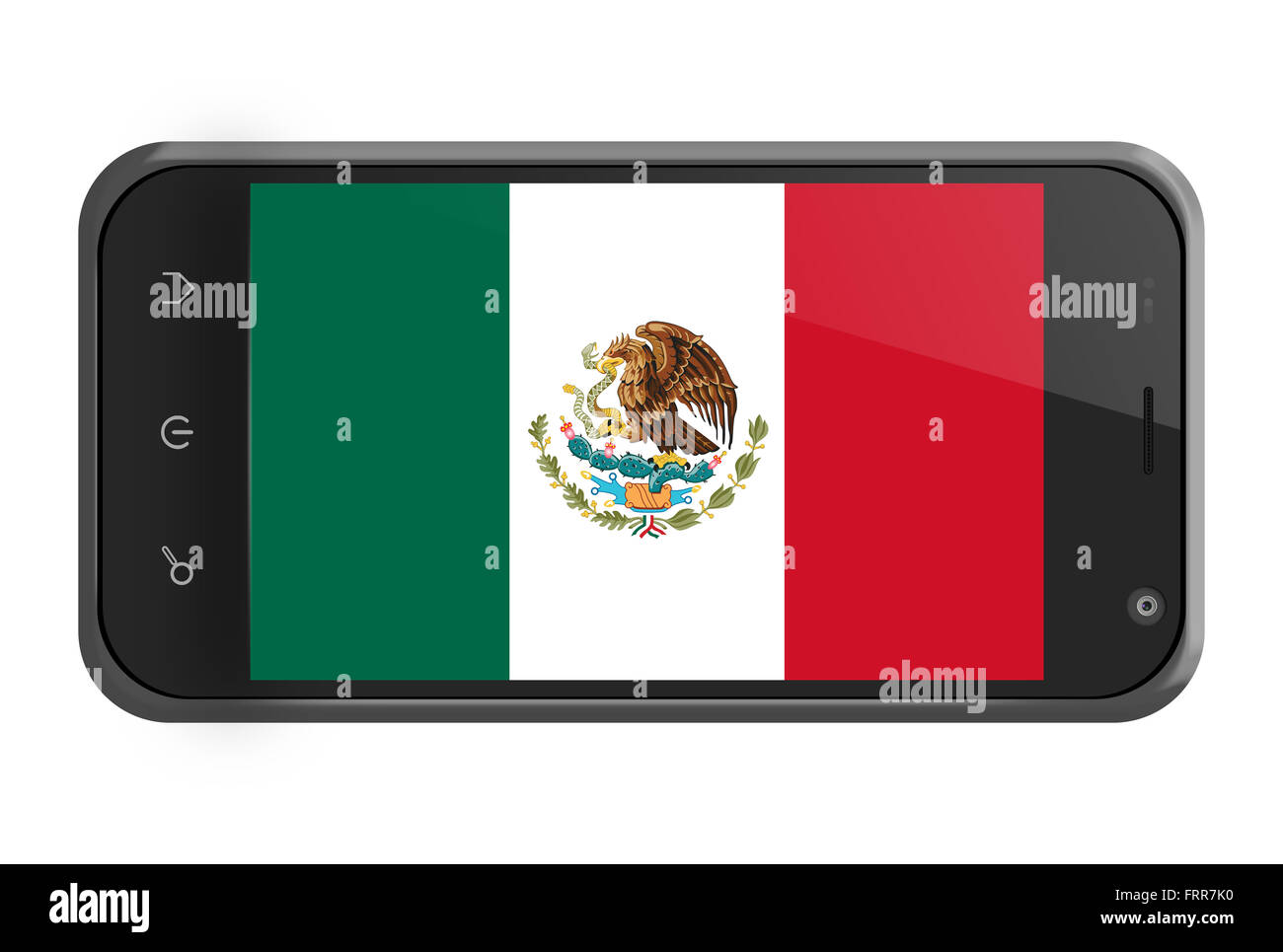 Mexico flag on smartphone screen isolated on white - Stock Image