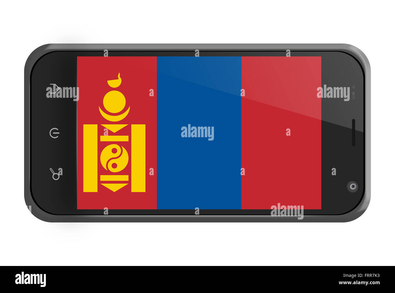 Mongolia flag on smartphone screen isolated on white - Stock Image