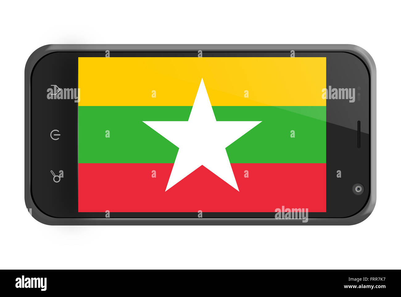 Myanmar flag on smartphone screen isolated on white - Stock Image