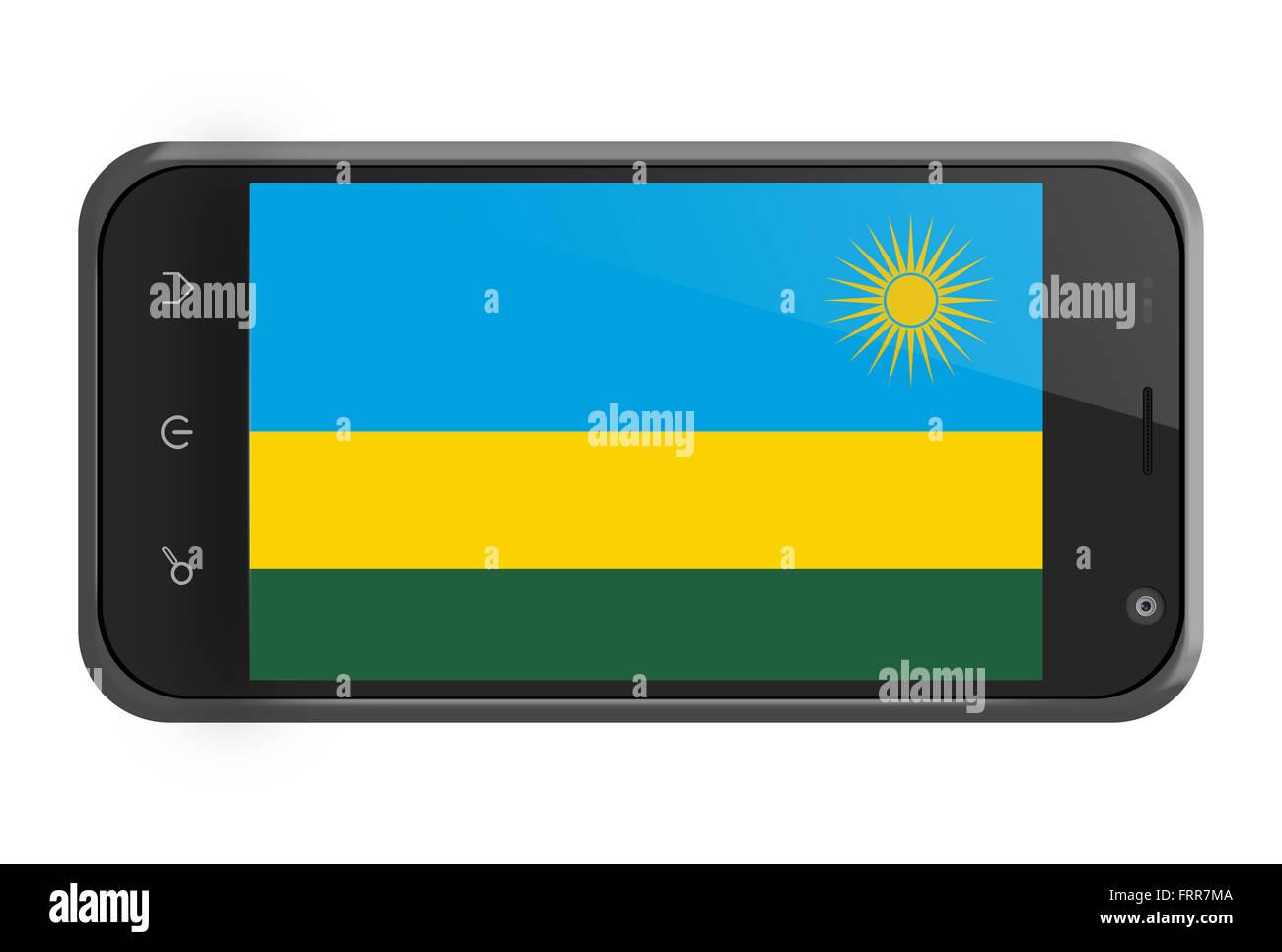 Rwanda flag on smartphone screen isolated on white - Stock Image