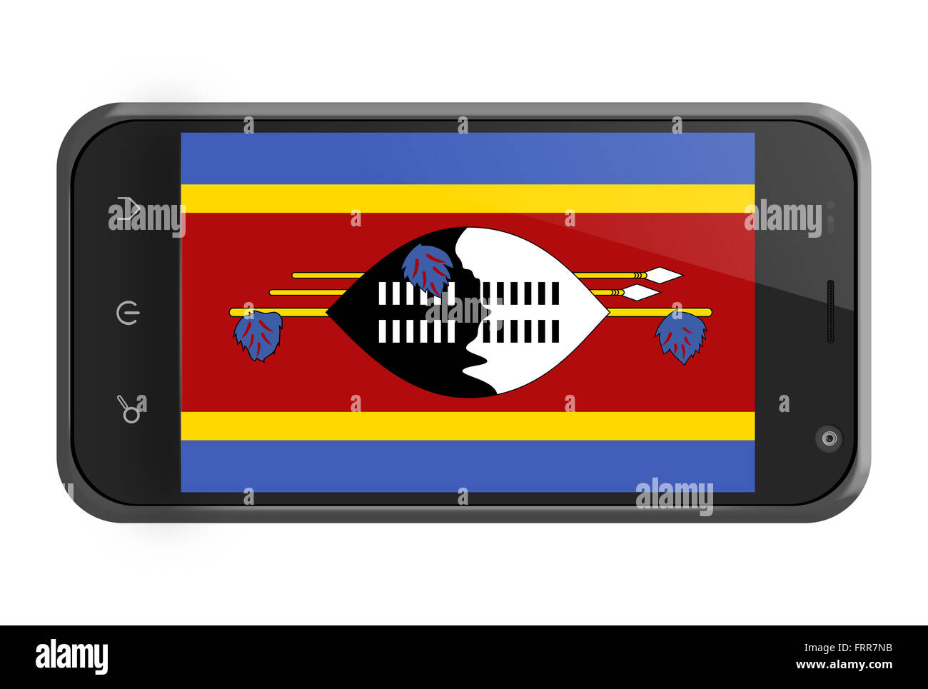 Swaziland flag on smartphone screen isolated on white Stock Photo