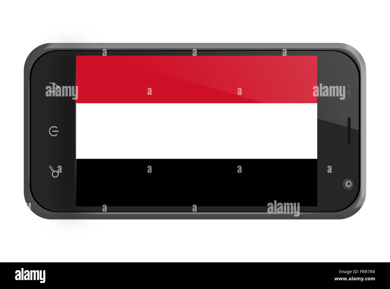 Yemen flag on smartphone screen isolated on white - Stock Image