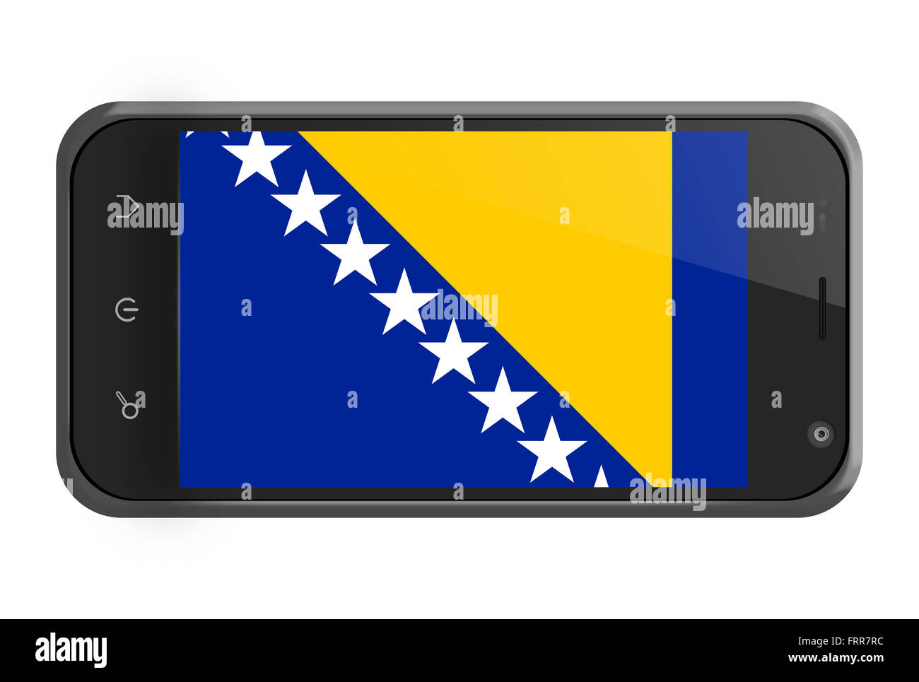 Bosnia and Herzegovina flag on smartphone screen isolated on white - Stock Image