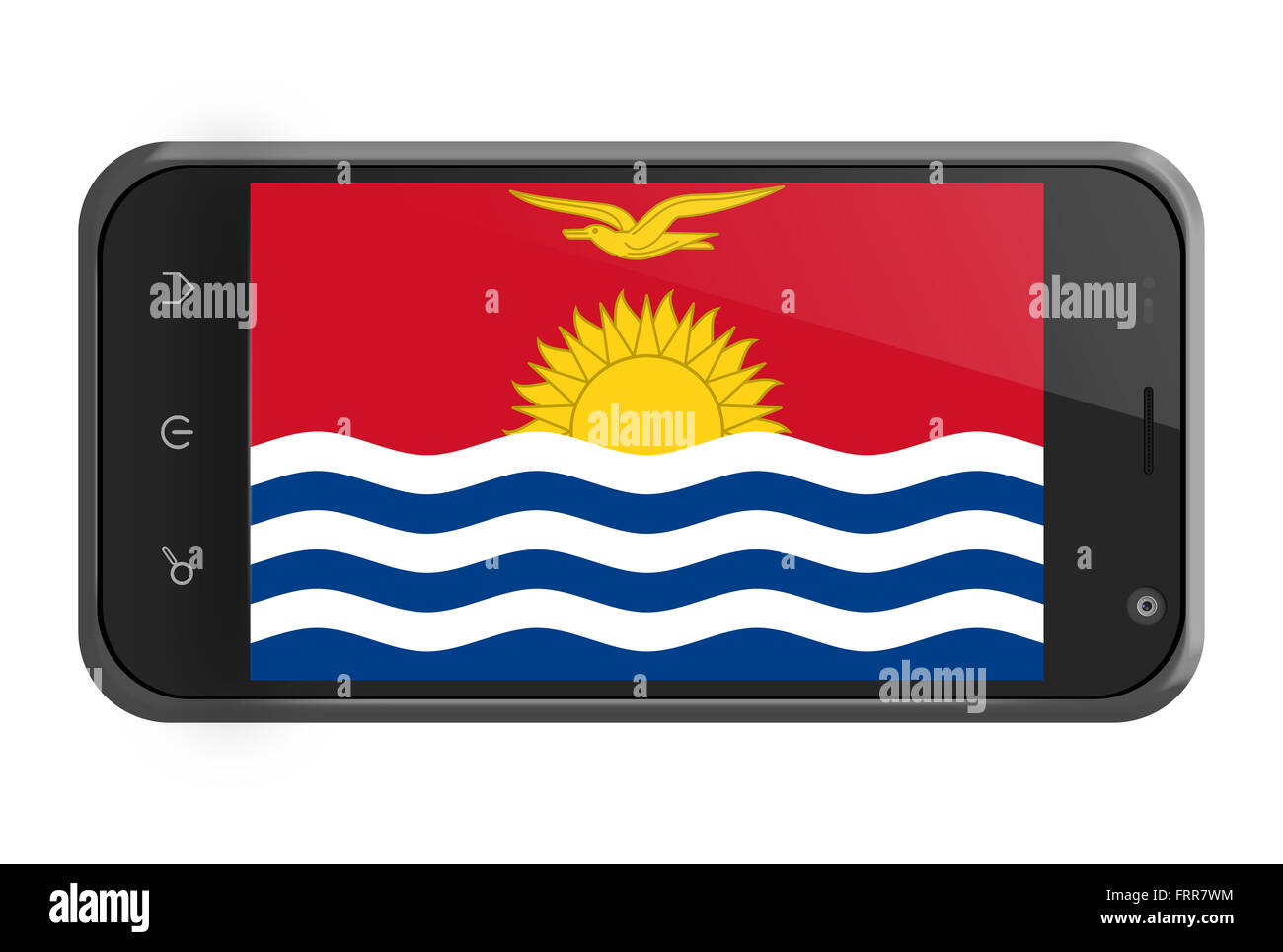 Kiribati flag on smartphone screen isolated on white - Stock Image