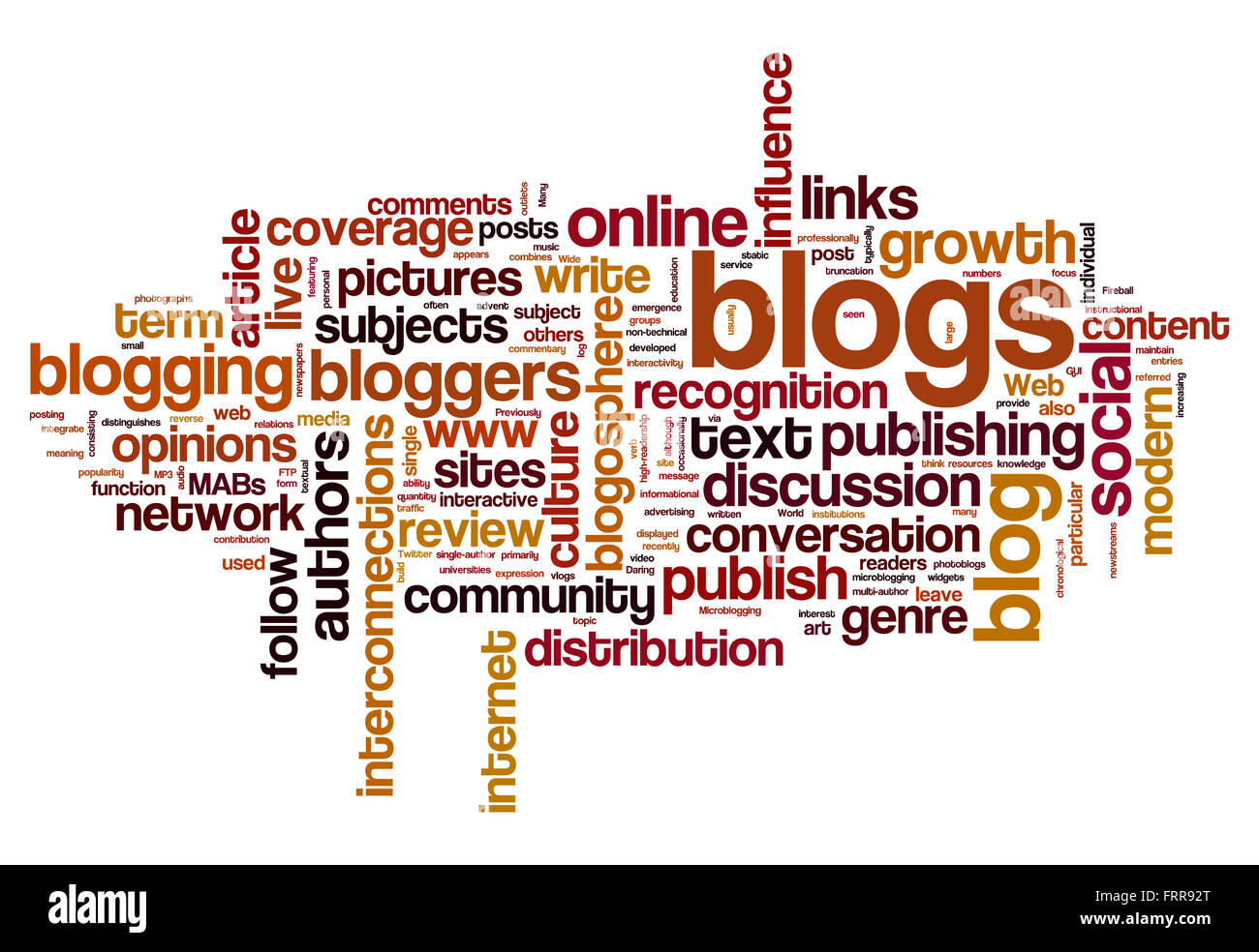 Blog and blogging concept word cloud background Stock Photo