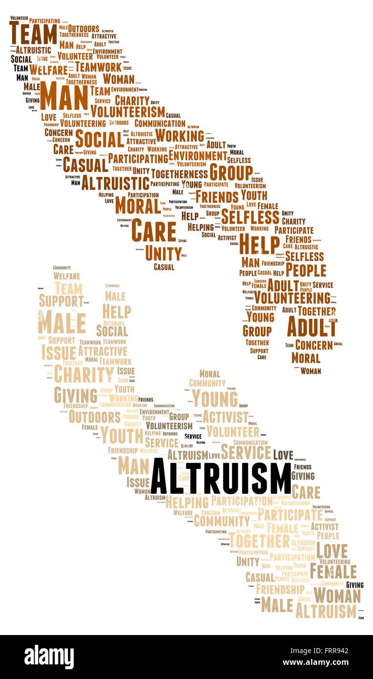 Altruism word cloud shape concept - Stock Image