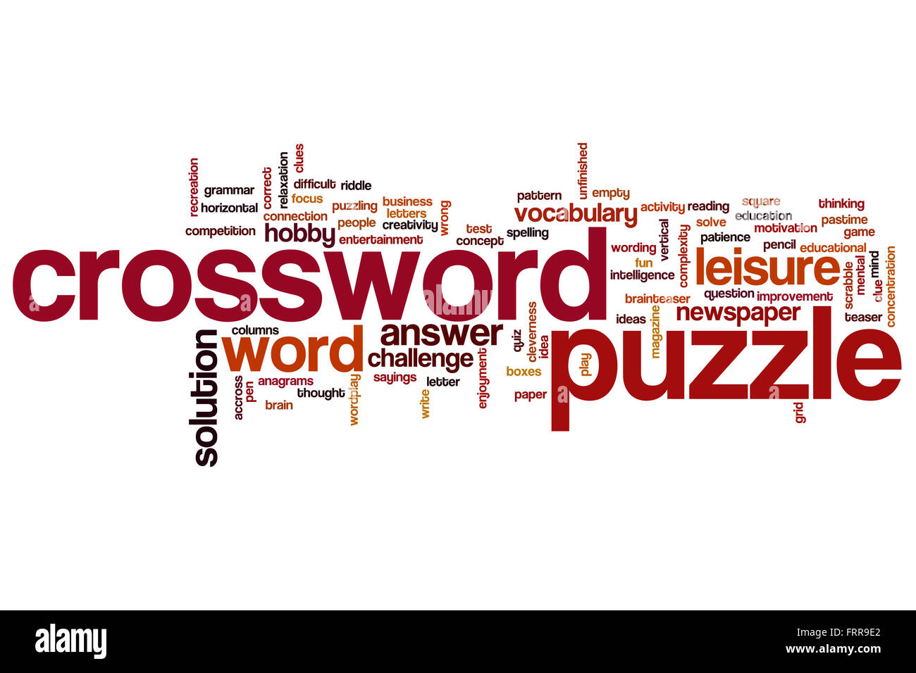 Crossword Puzzle Word Cloud Concept Stock Photo Alamy