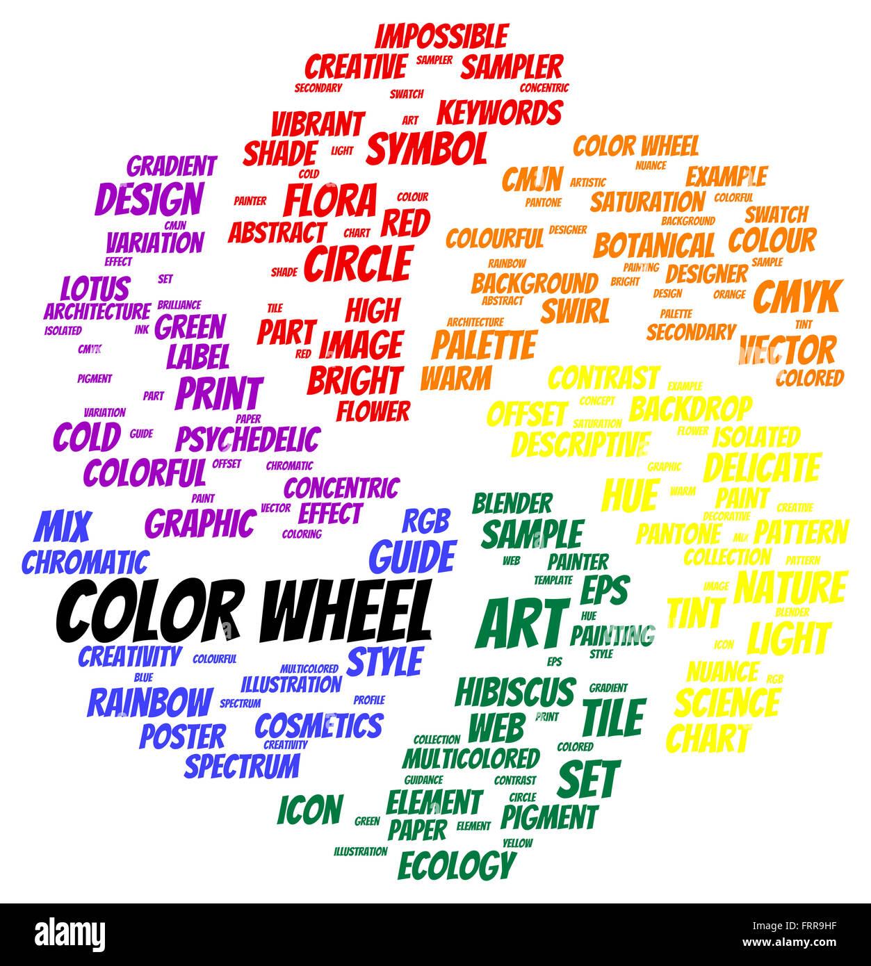 Color Wheel Word Cloud Shape Concept Stock Photo 100701371 Alamy