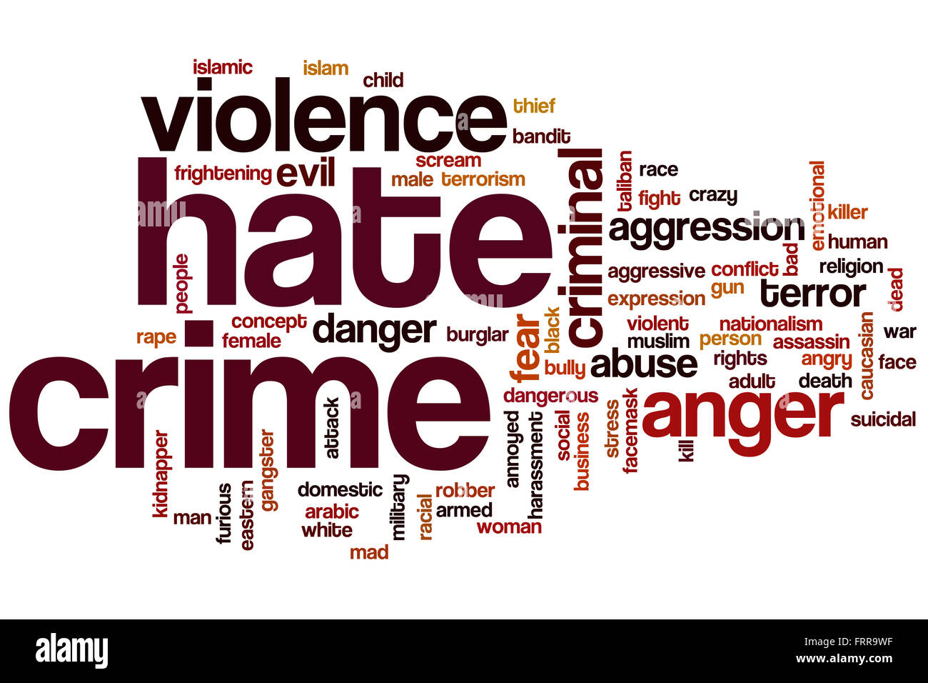Hate crime word cloud concept - Stock Image