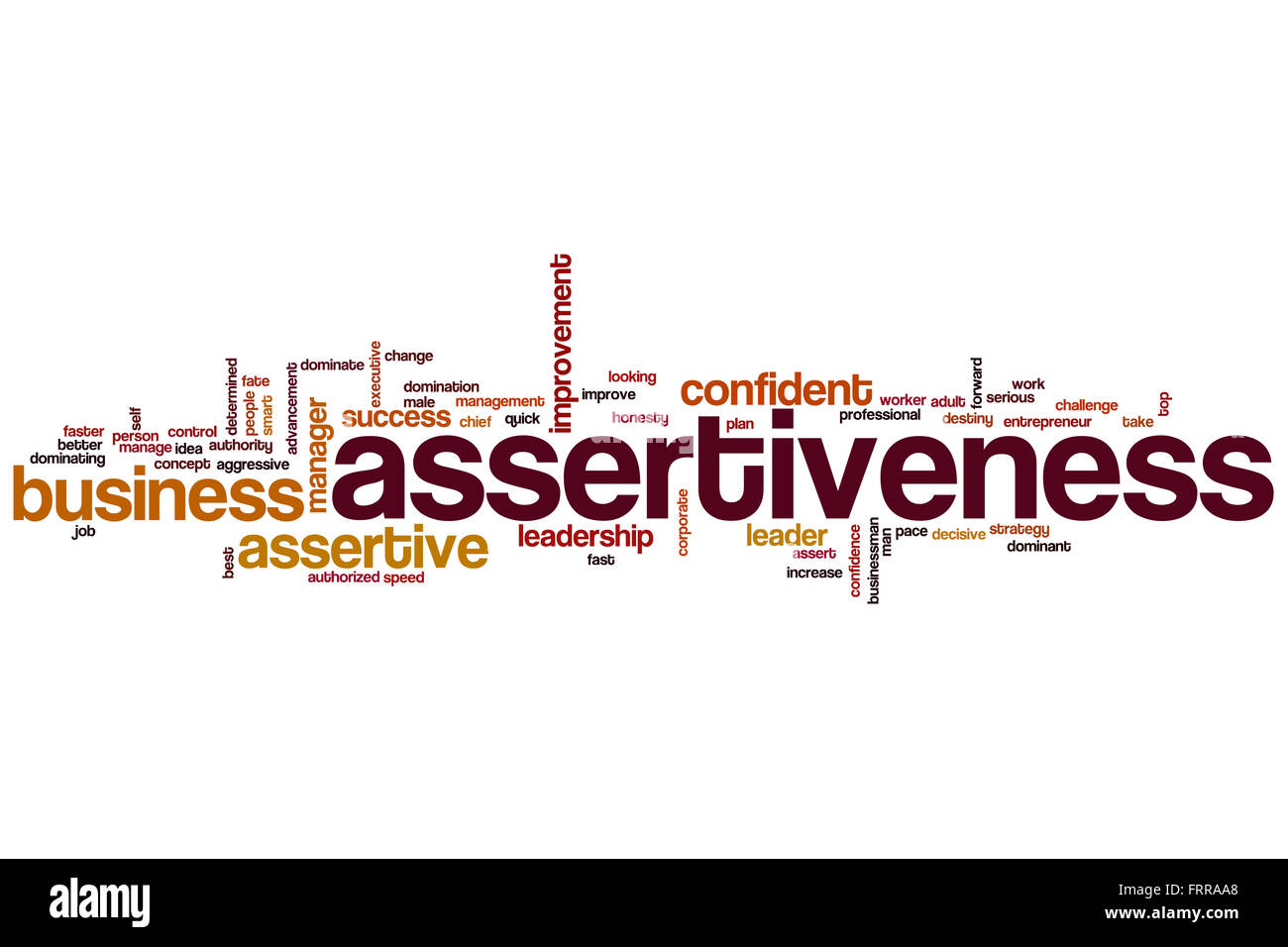 Assertiveness word cloud concept - Stock Image
