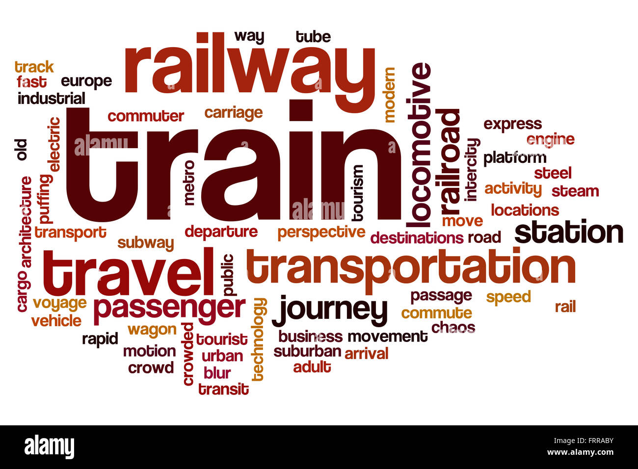 Train word cloud concept - Stock Image