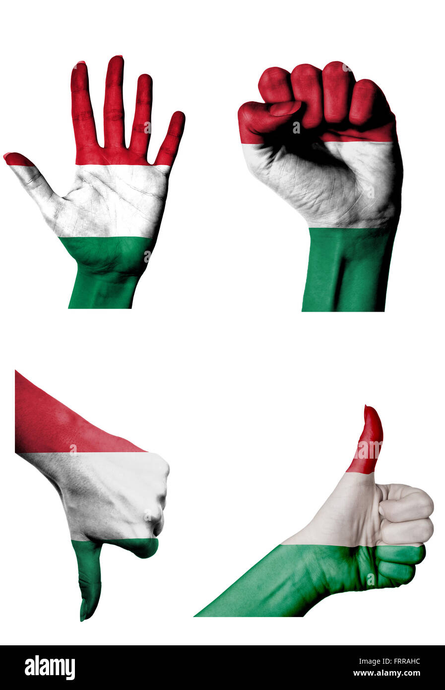 hands with multiple gestures (open palm, closed fist, thumbs up and down) with Hungary flag painted isolated on - Stock Image