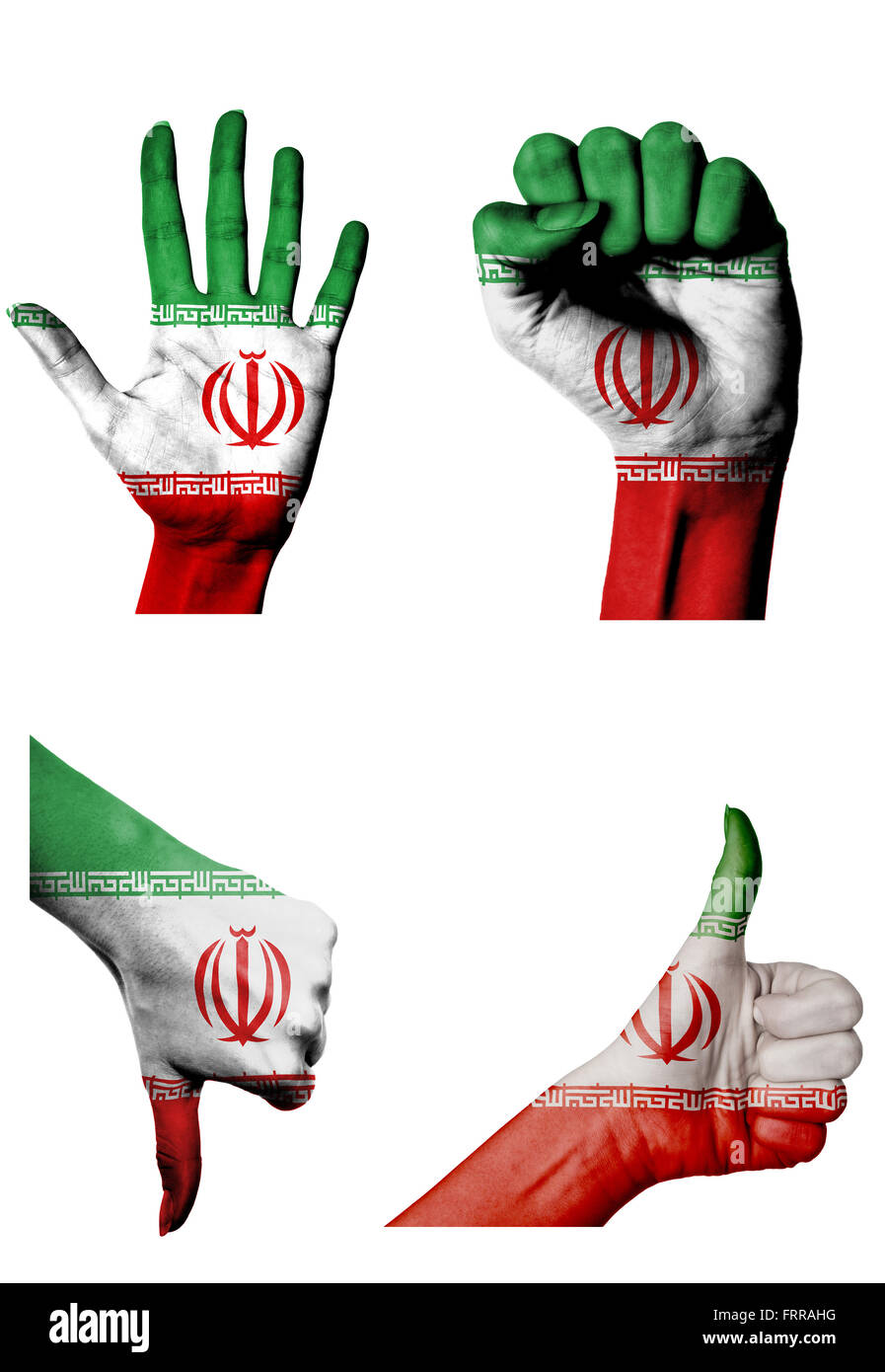 hands with multiple gestures (open palm, closed fist, thumbs up and down) with Iran flag painted isolated on white - Stock Image