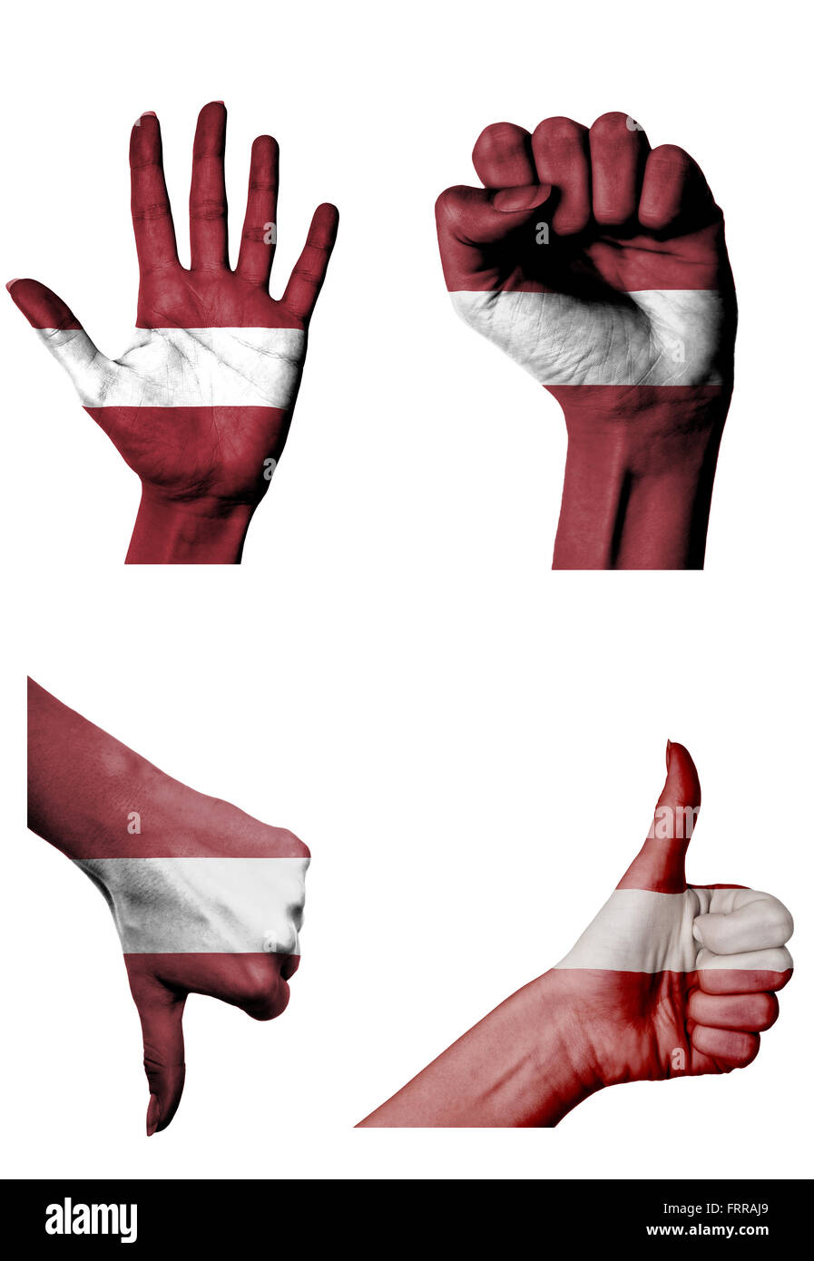 hands with multiple gestures (open palm, closed fist, thumbs up and down) with Latvia flag painted isolated on white - Stock Image