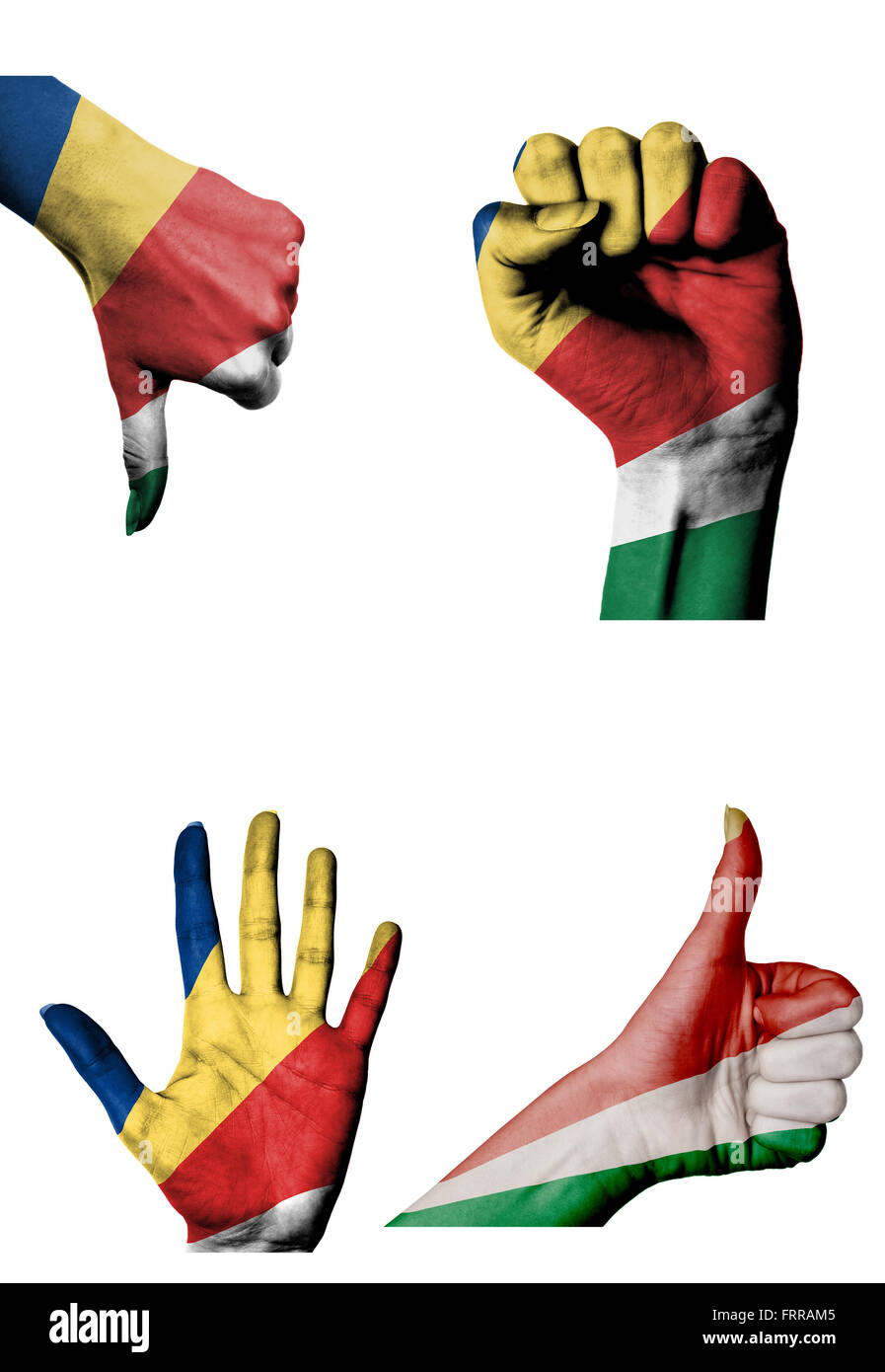 hands with multiple gestures (open palm, closed fist, thumbs up and down) with Seychelles flag painted isolated - Stock Image