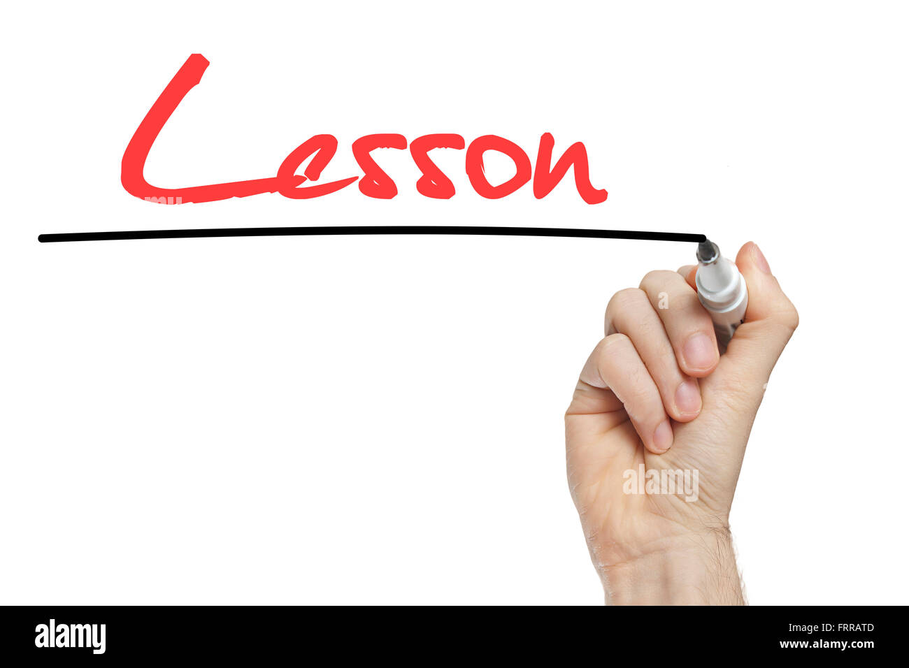 Hand writing lesson on a white board - education concept - Stock Image