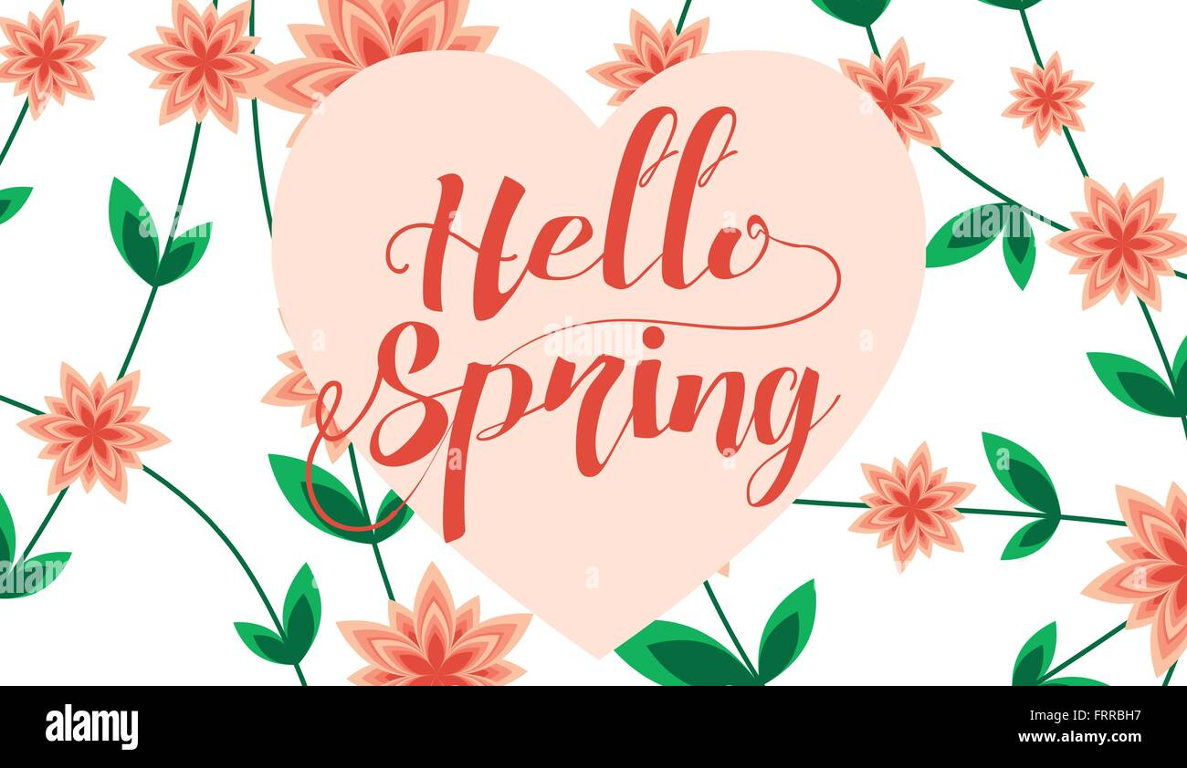 Hello Spring Letter Decorating With Leaf And Flower Spring Season