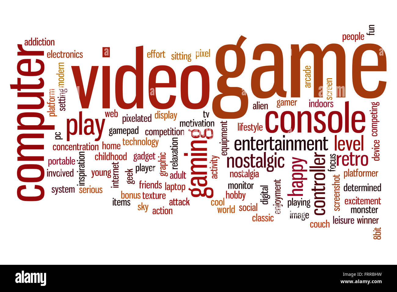 Video game concept word cloud background - Stock Image