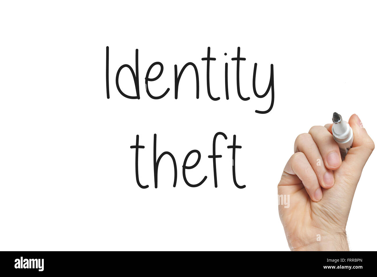 Hand writing identity theft on a white board - Stock Image