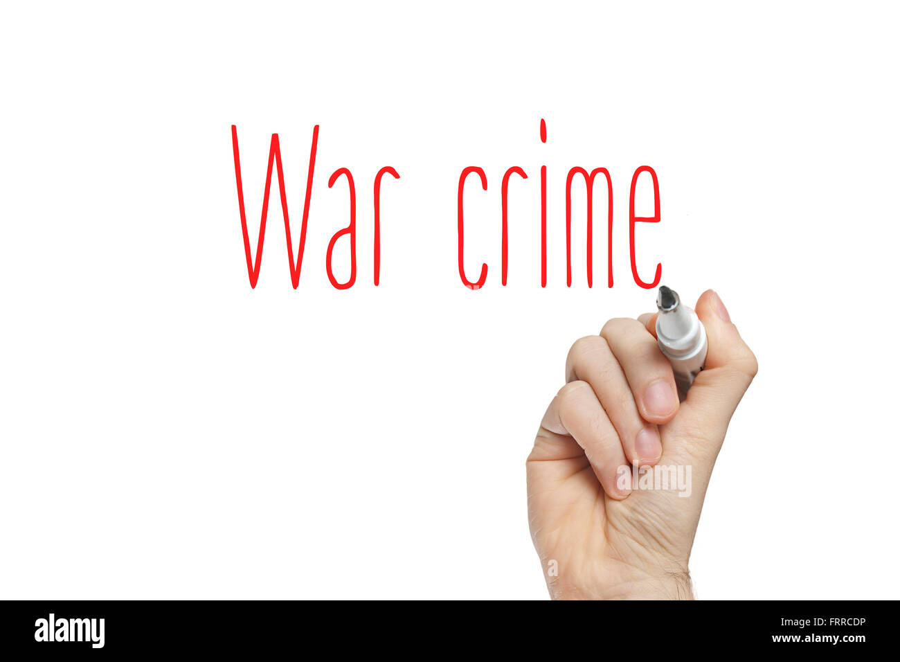 Hand writing war crime on a white board - Stock Image
