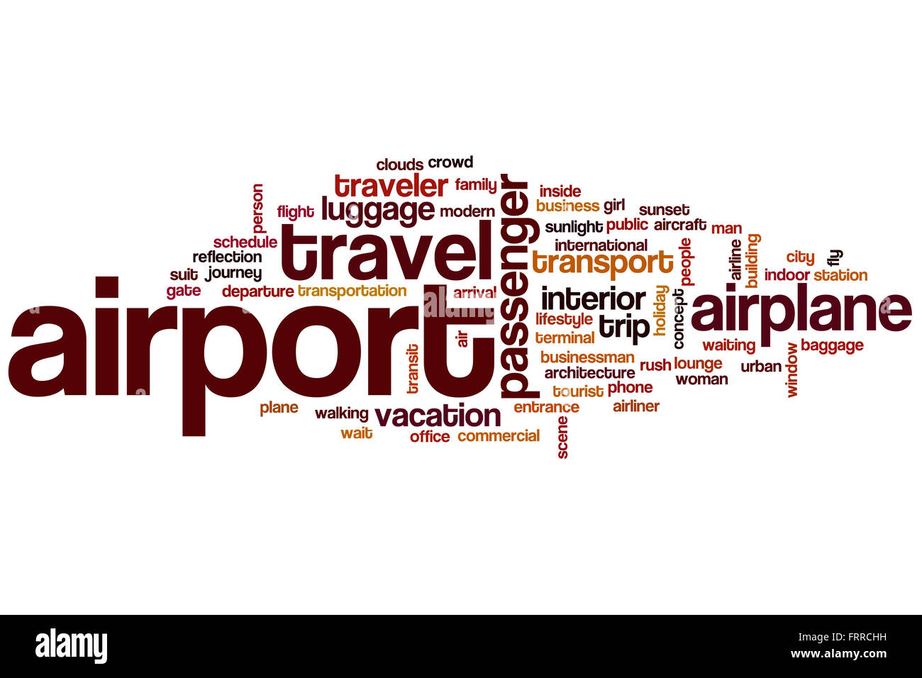 airport word cloud concept with travel airplane related tags stock