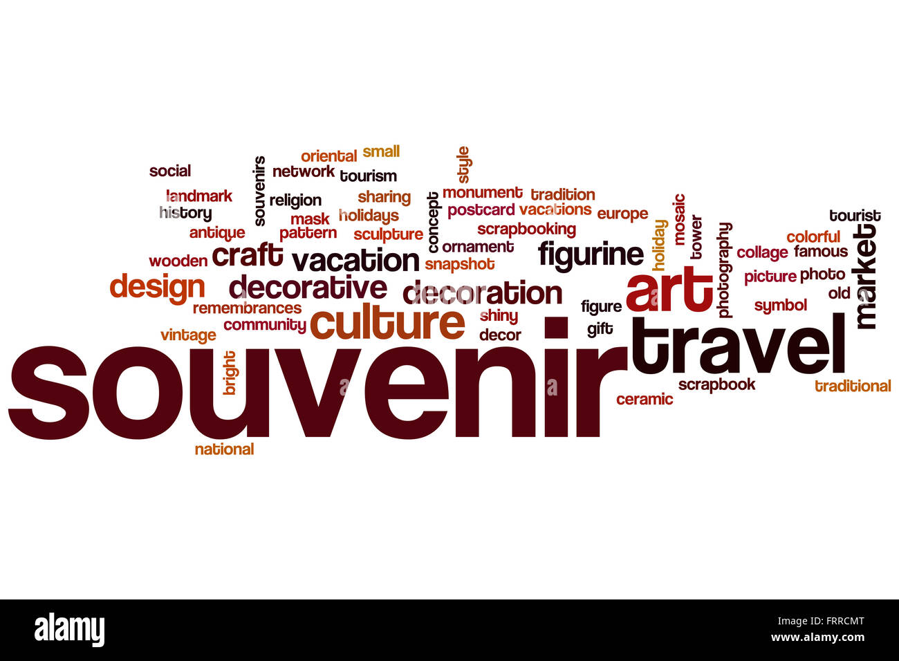 Souvenir Word Cloud Concept With Travel Art Related Tags