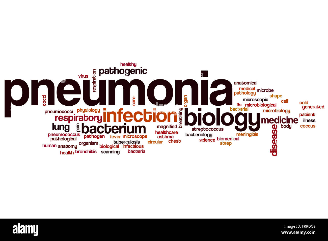 Pneumonia word cloud concept - Stock Image