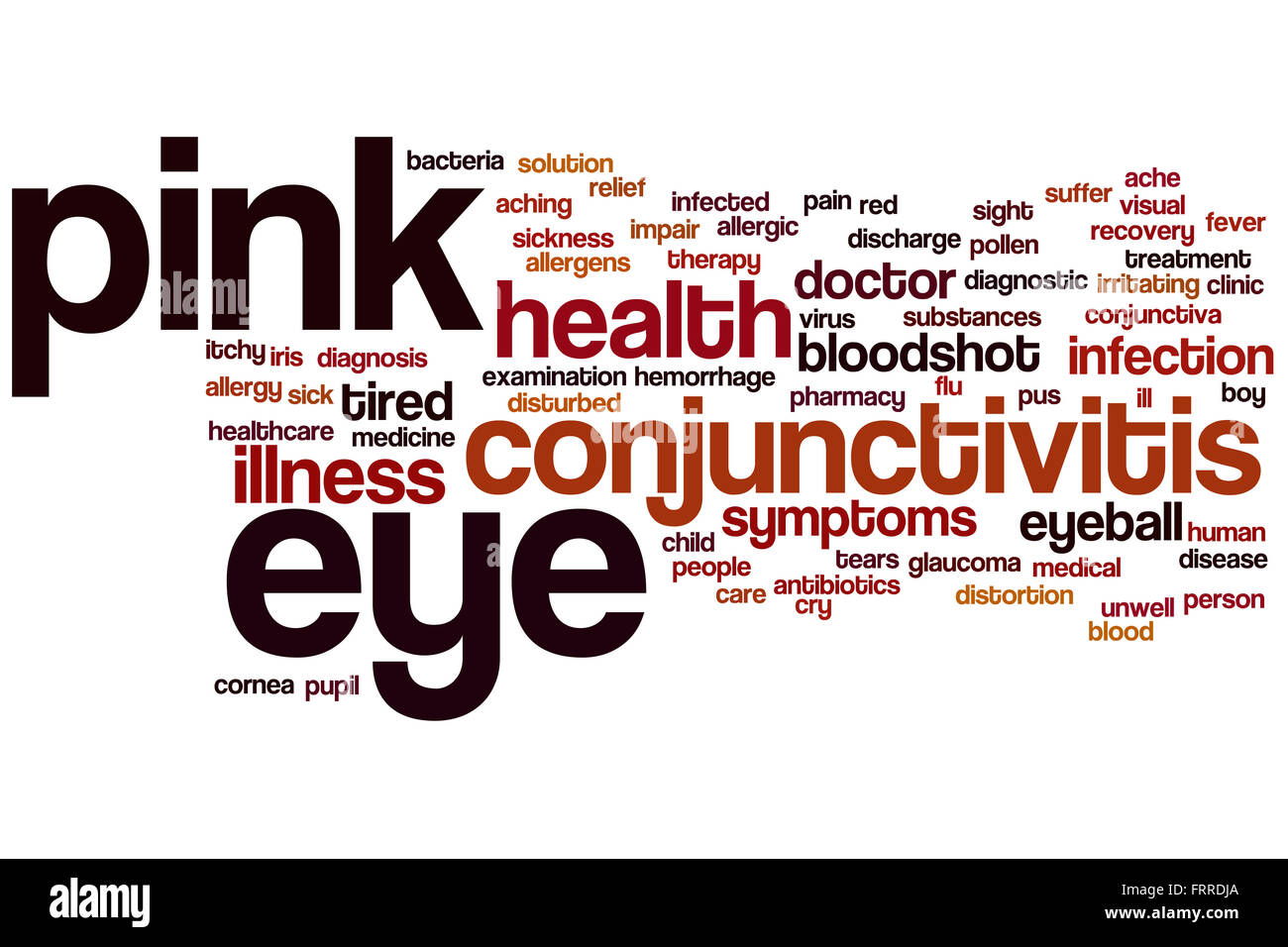 Pink eye word cloud concept - Stock Image
