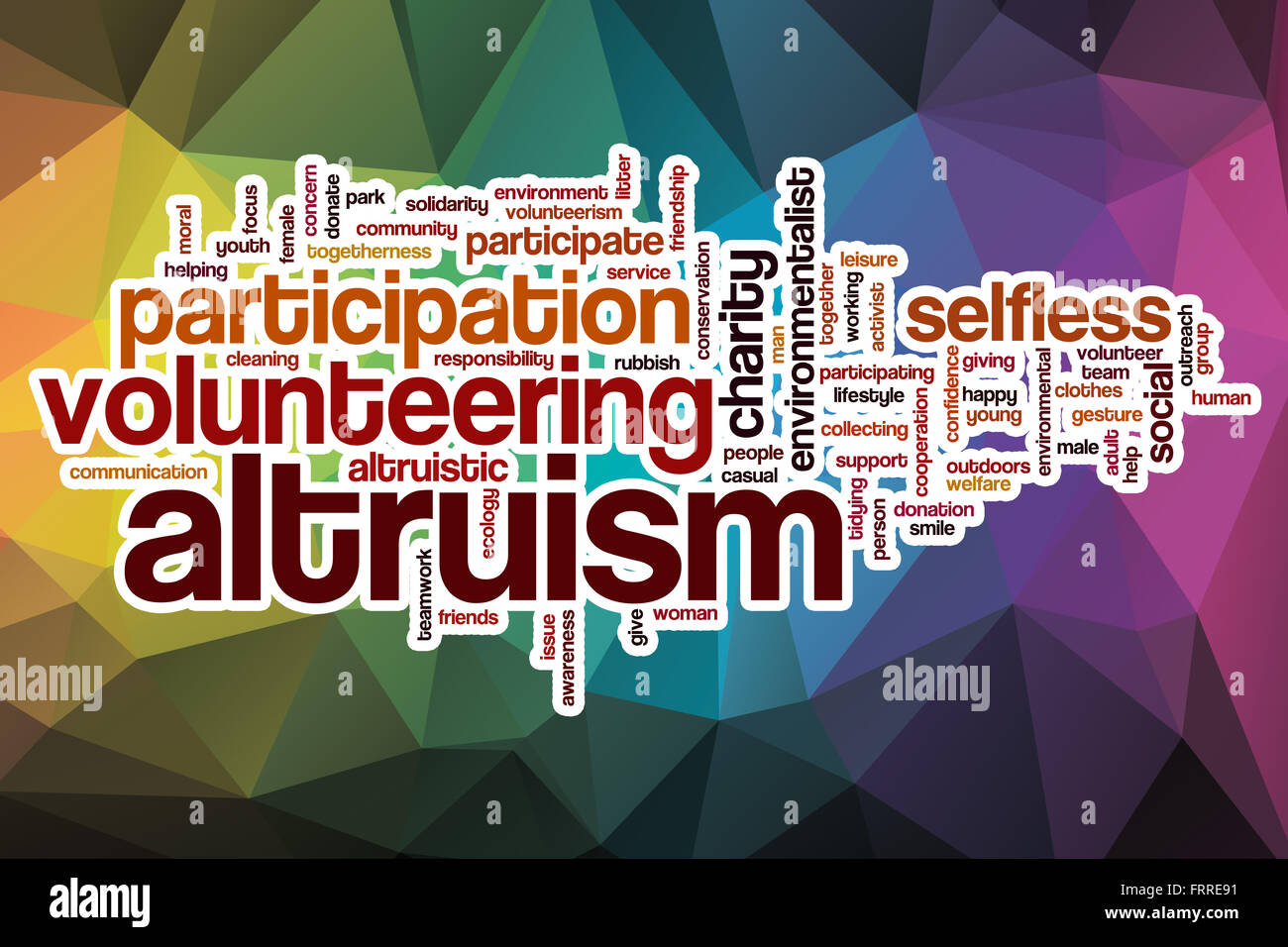 Altruism word cloud concept with abstract background - Stock Image
