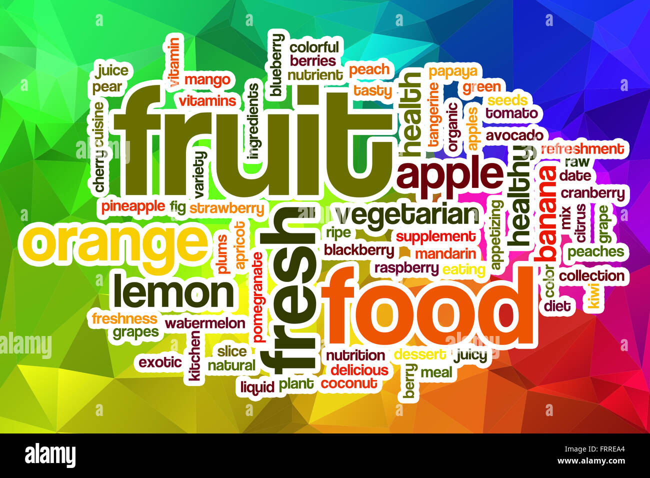 Fruit word cloud concept with abstract background - Stock Image