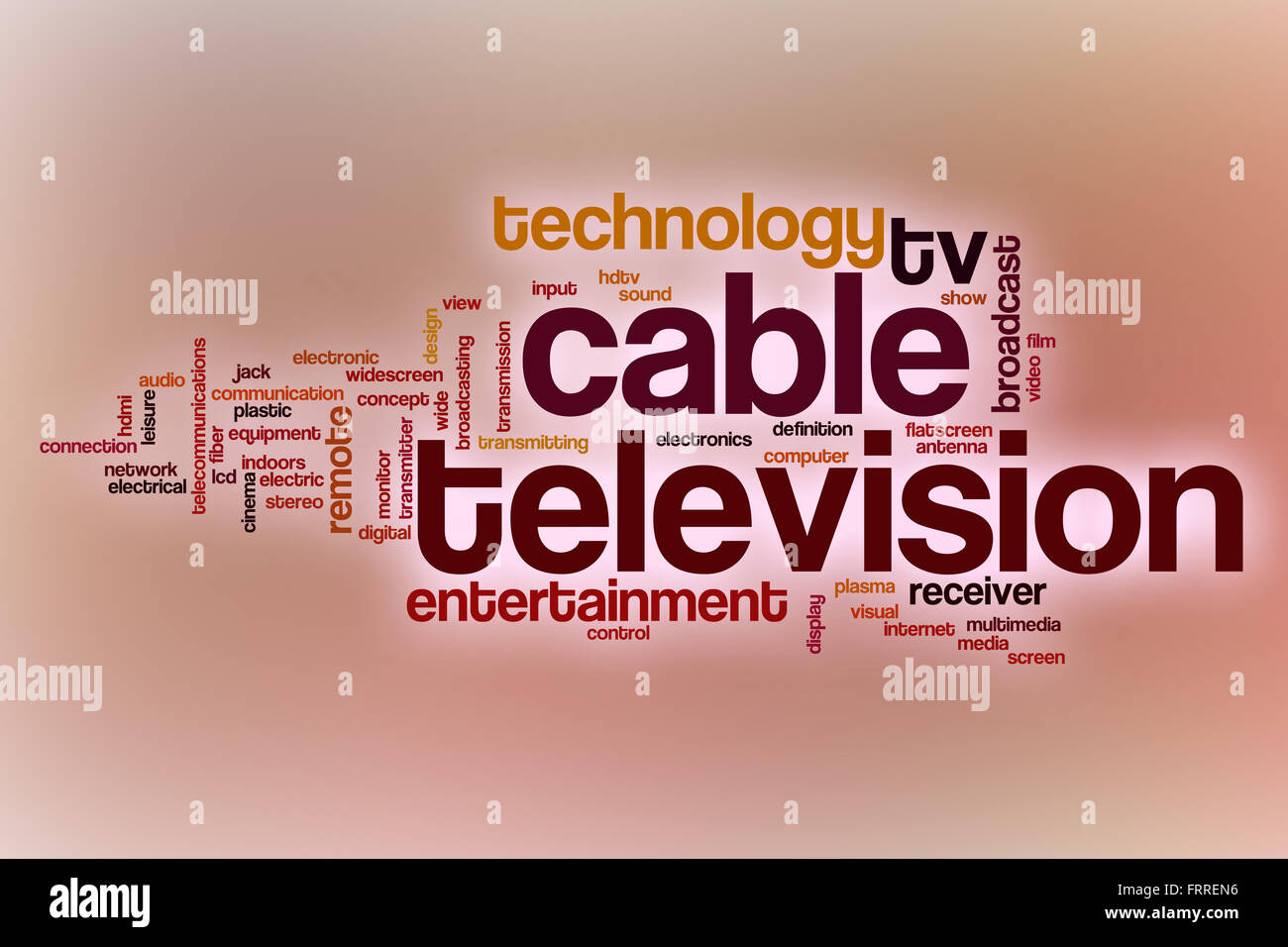 Cable television word cloud concept with abstract background - Stock Image