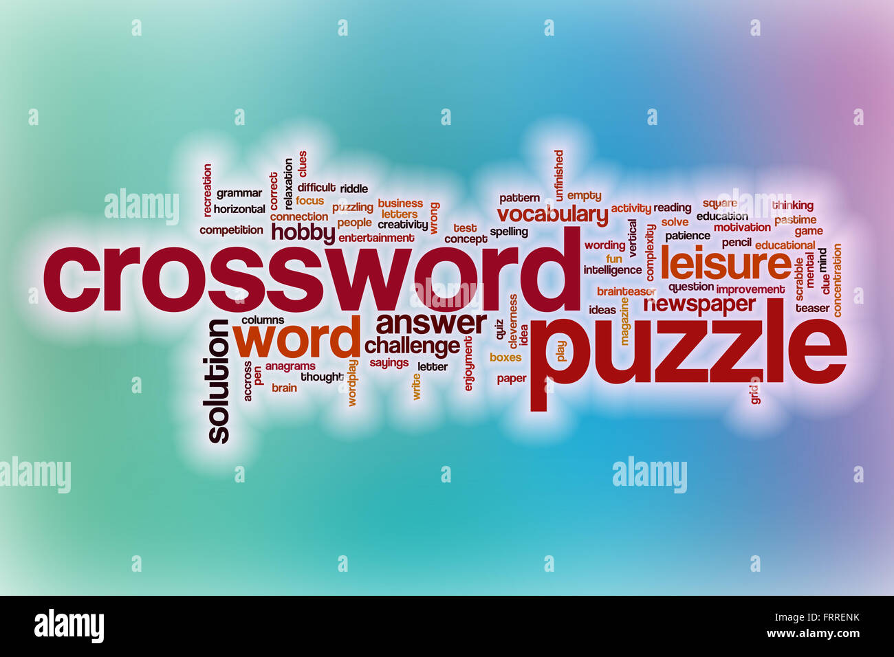 Crossword Puzzle Word Cloud Concept With Abstract Background