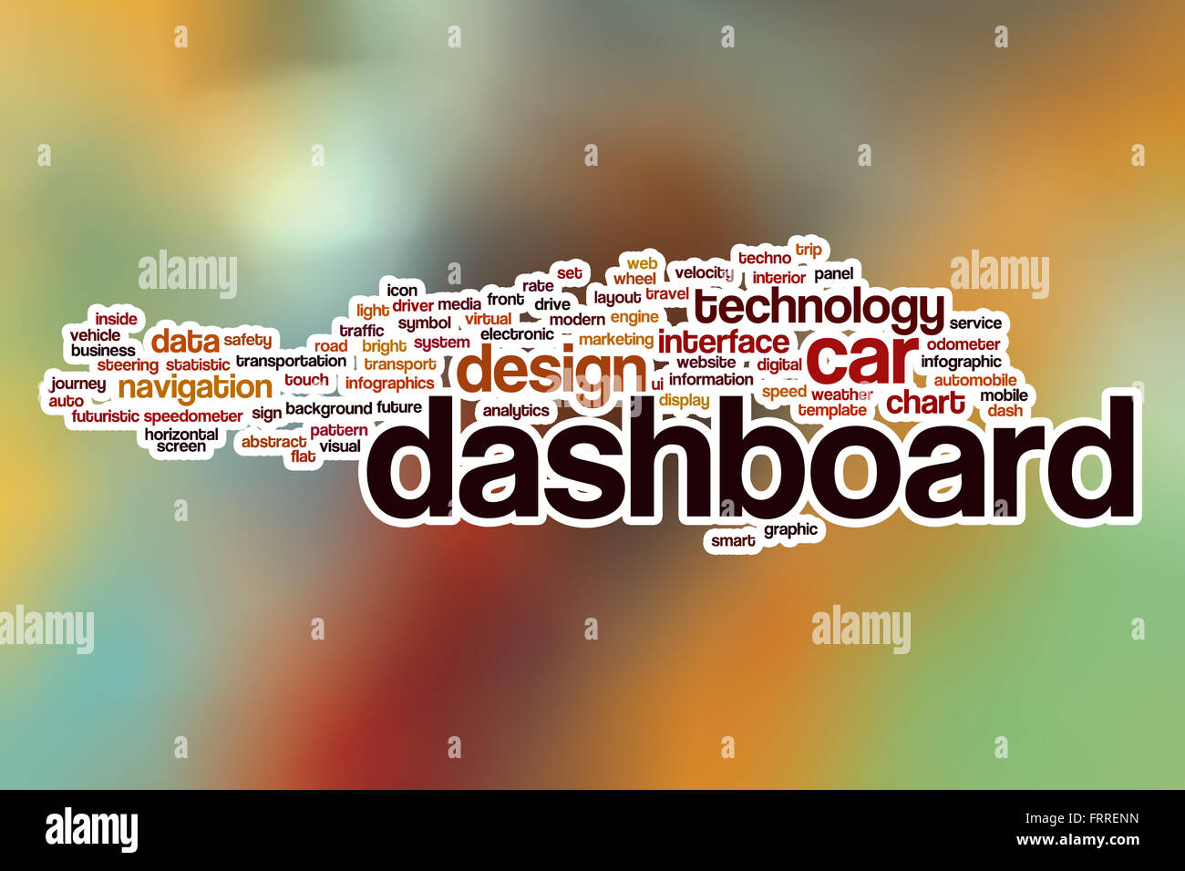 Dashboard Word Cloud Concept With Abstract Background Stock Photo - Word dashboard template
